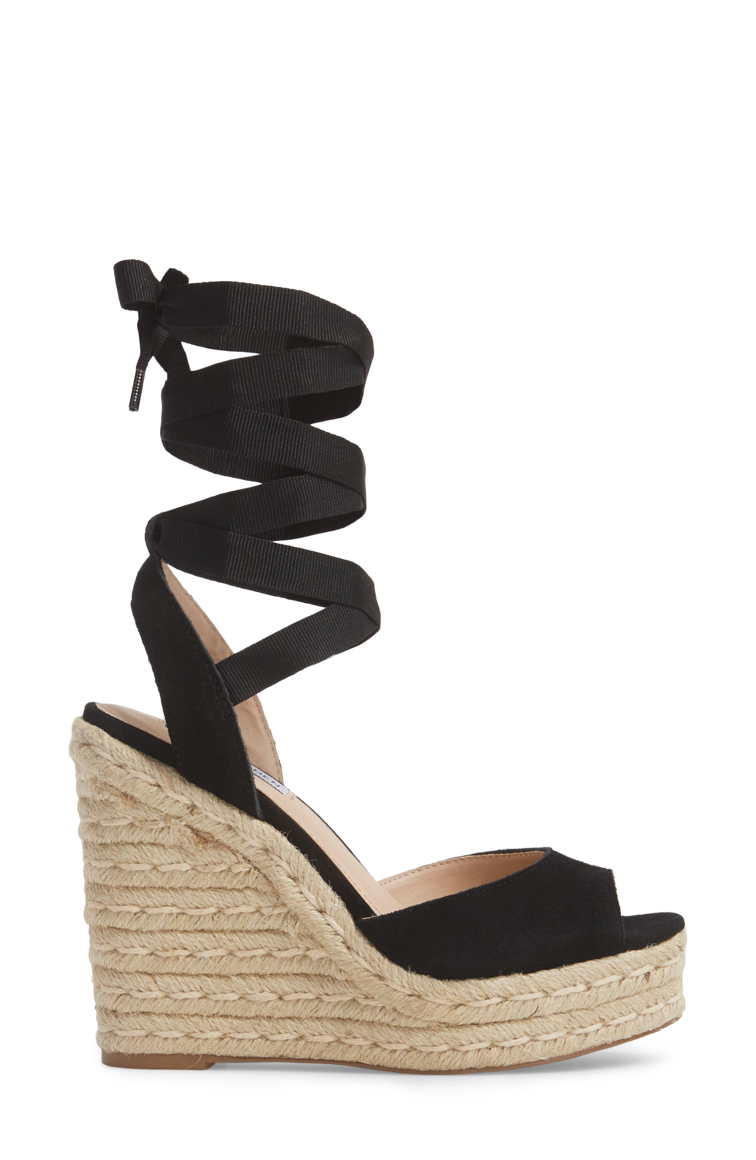 Secret Wedge Wraparound Sandal,                             Alternate thumbnail 3, color,                             Black Suede