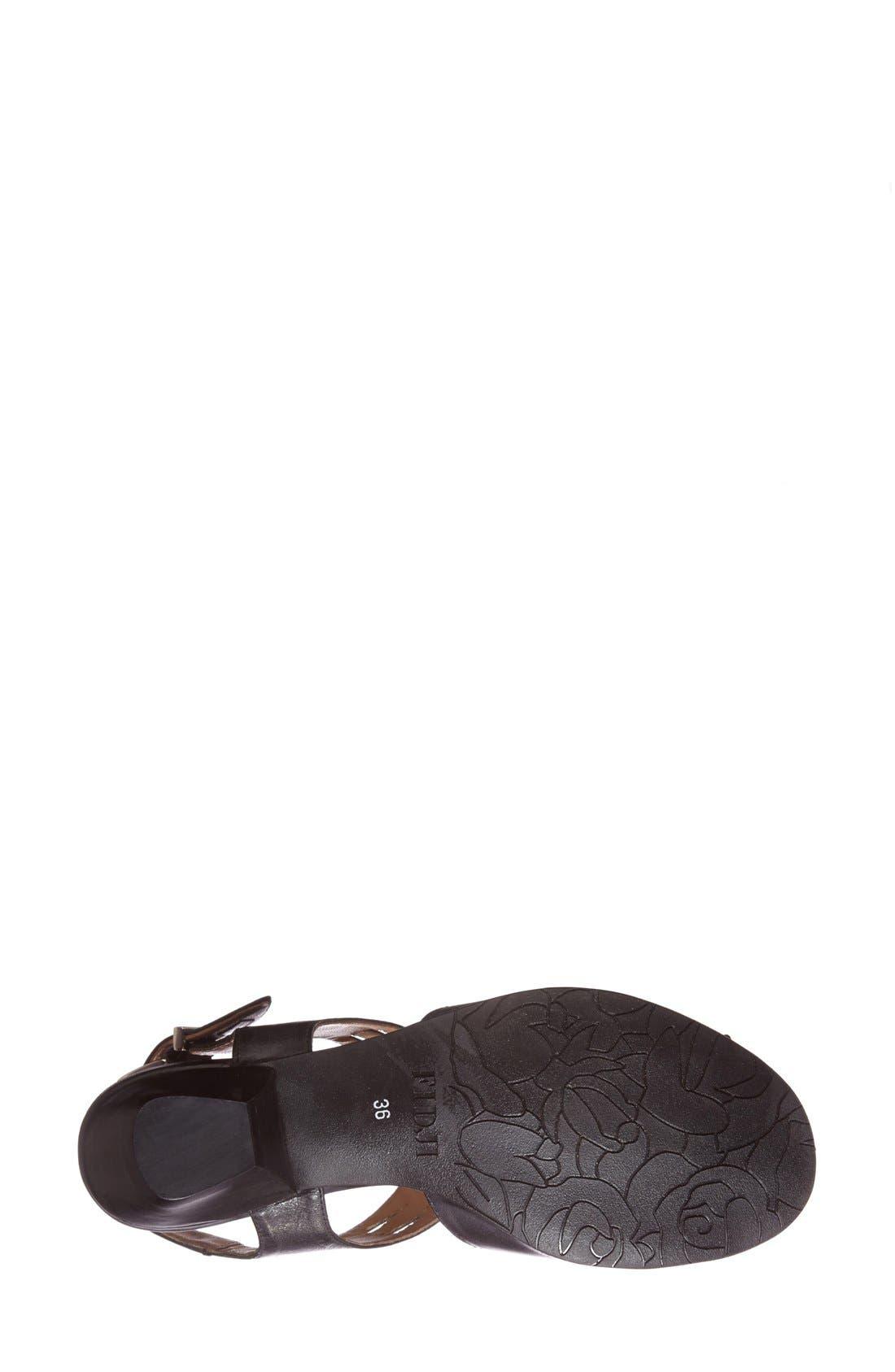 'V112' Perforated Leather Sandal,                             Alternate thumbnail 4, color,                             Black