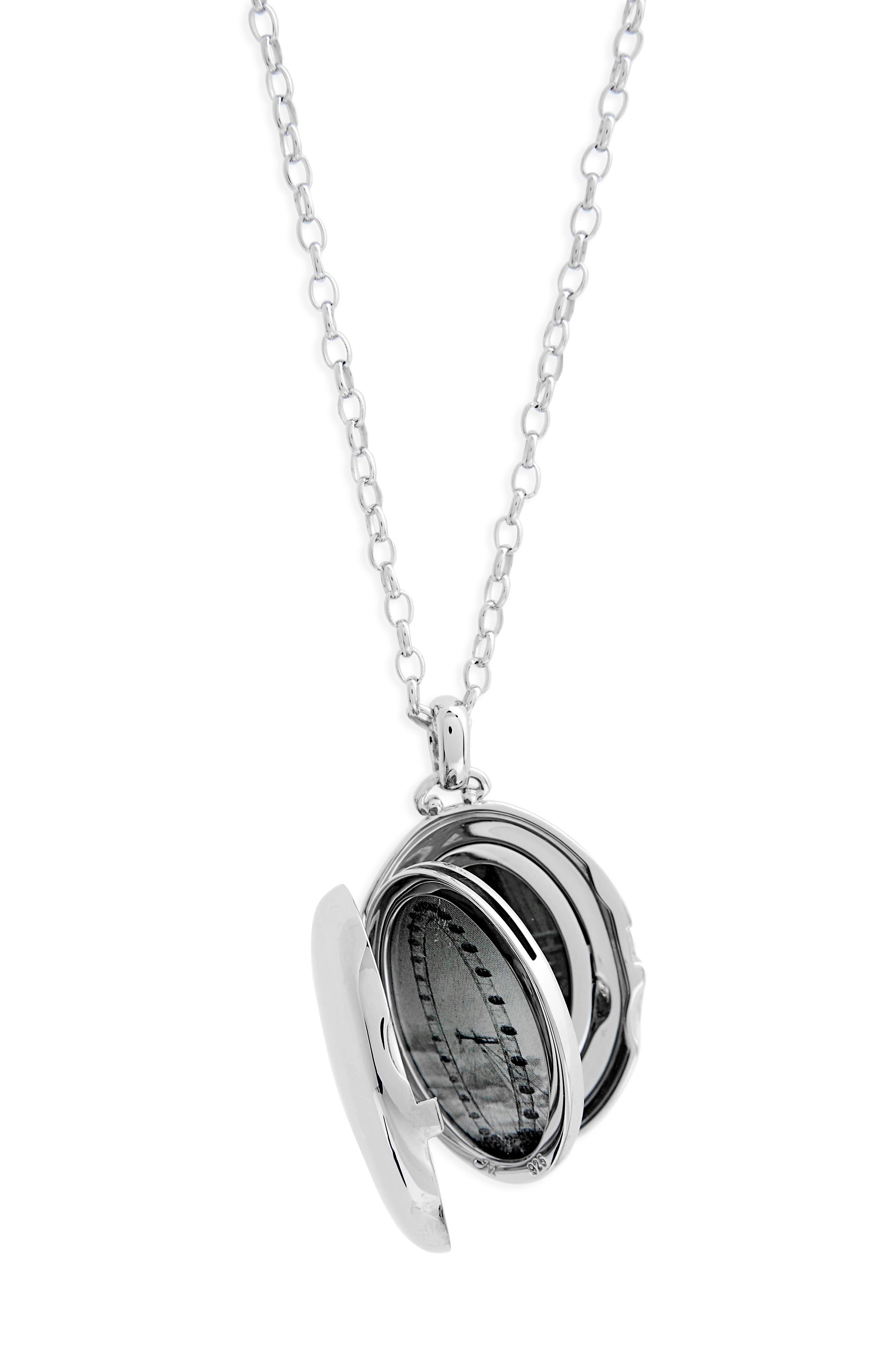 Four Image Oval Locket Necklace,                             Alternate thumbnail 3, color,                             Sterling Silver