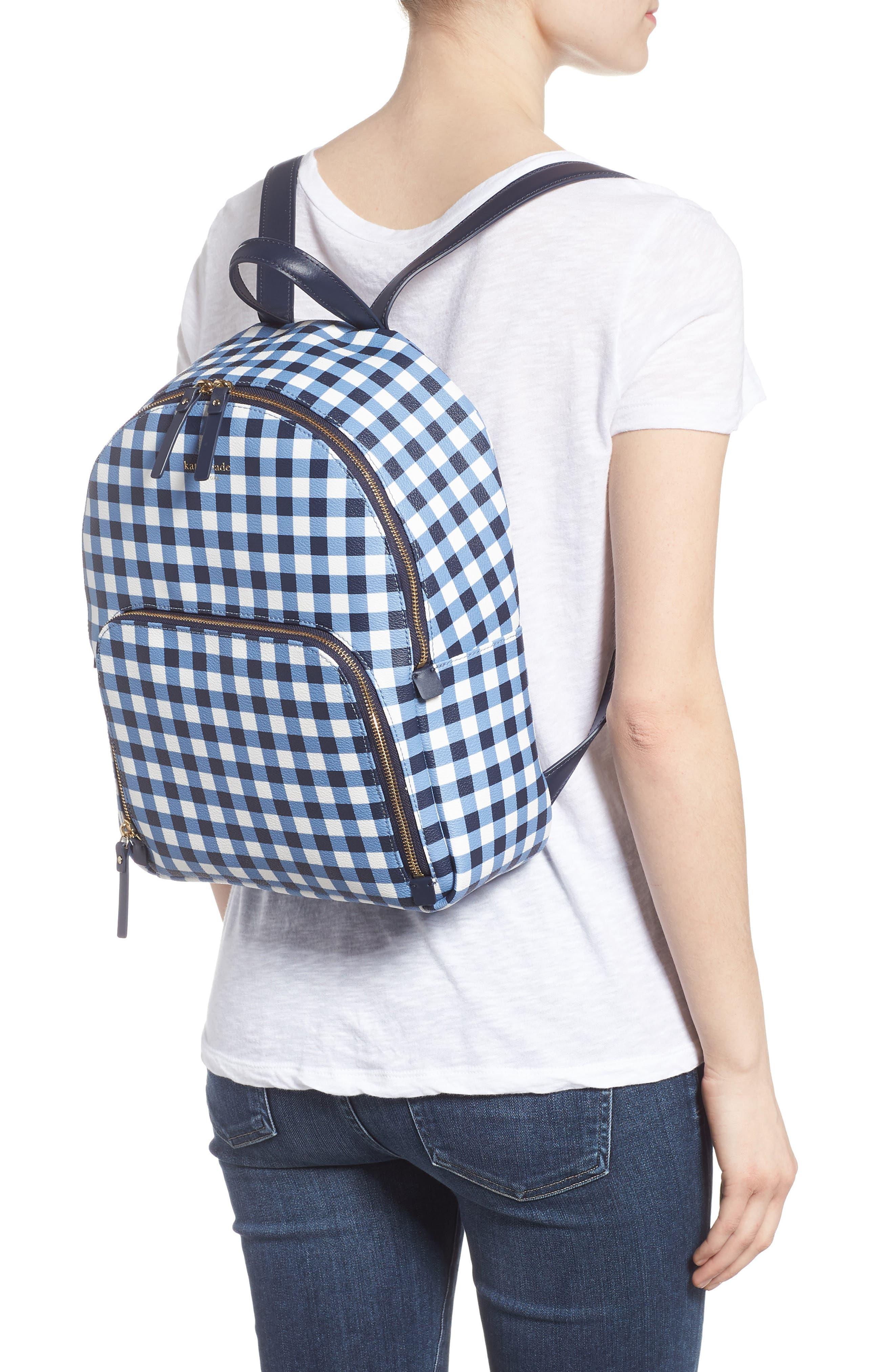 hyde lane hartley gingham backpack,                             Alternate thumbnail 2, color,                             Navy/ White