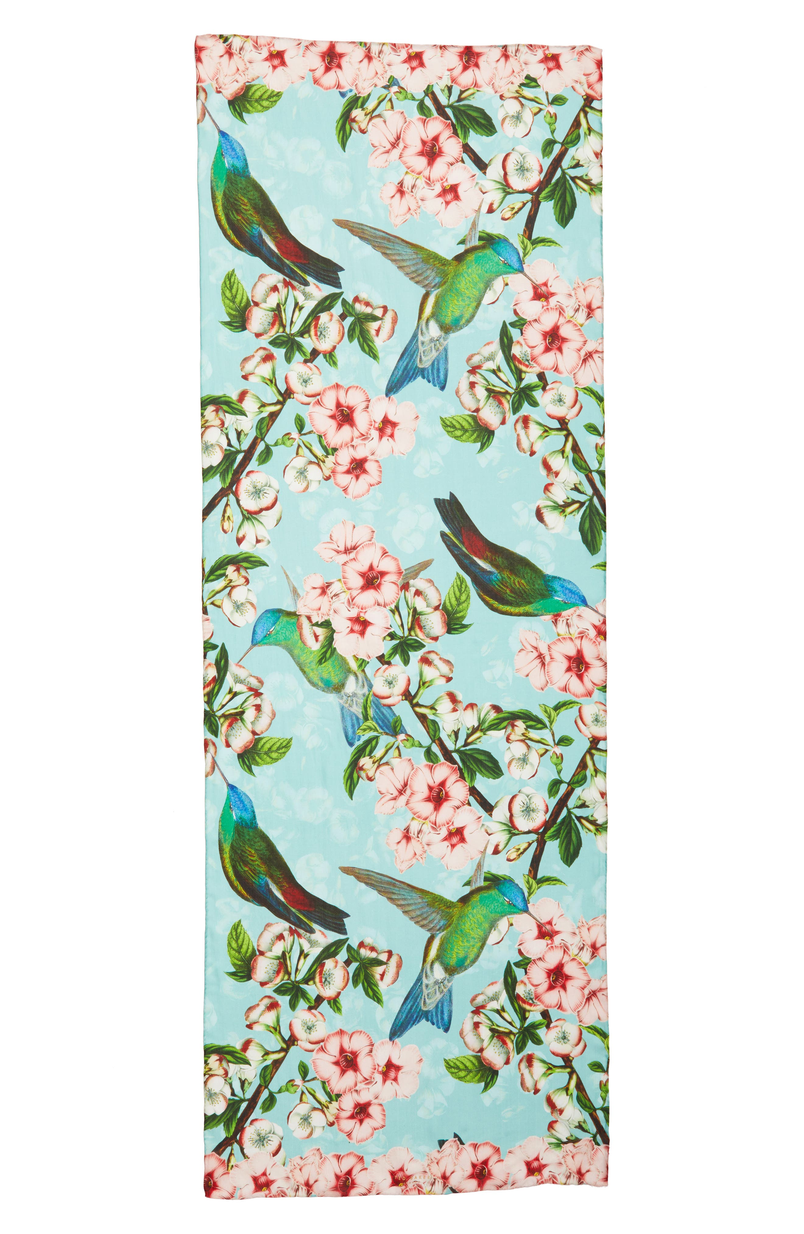 Nectar Long Silk Scarf,                             Alternate thumbnail 3, color,                             Pale Green
