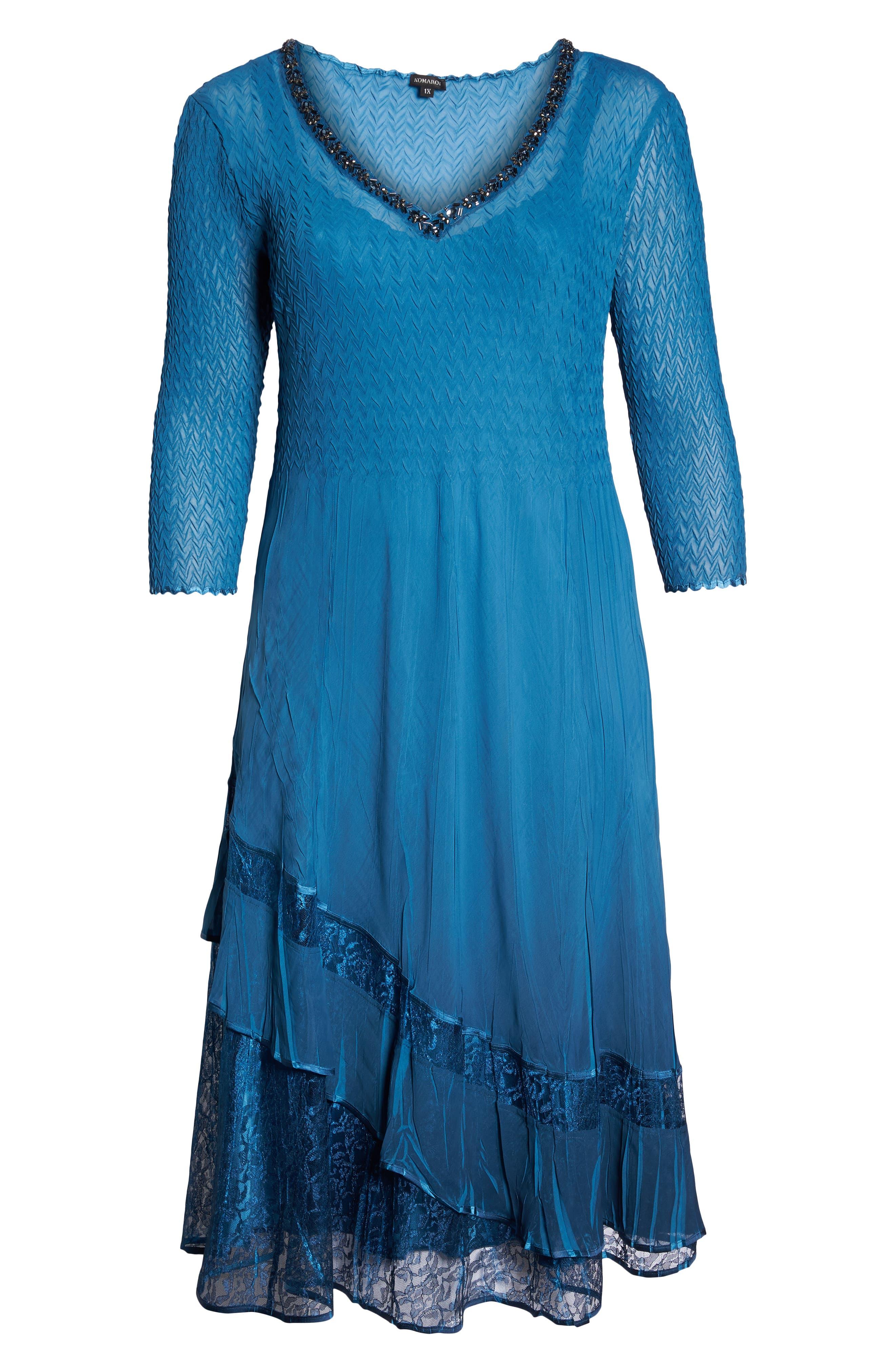 Beaded Neck Asymmetrical Charmeuse A-Line Dress,                             Alternate thumbnail 6, color,                             Blue Dusk Night Ombre