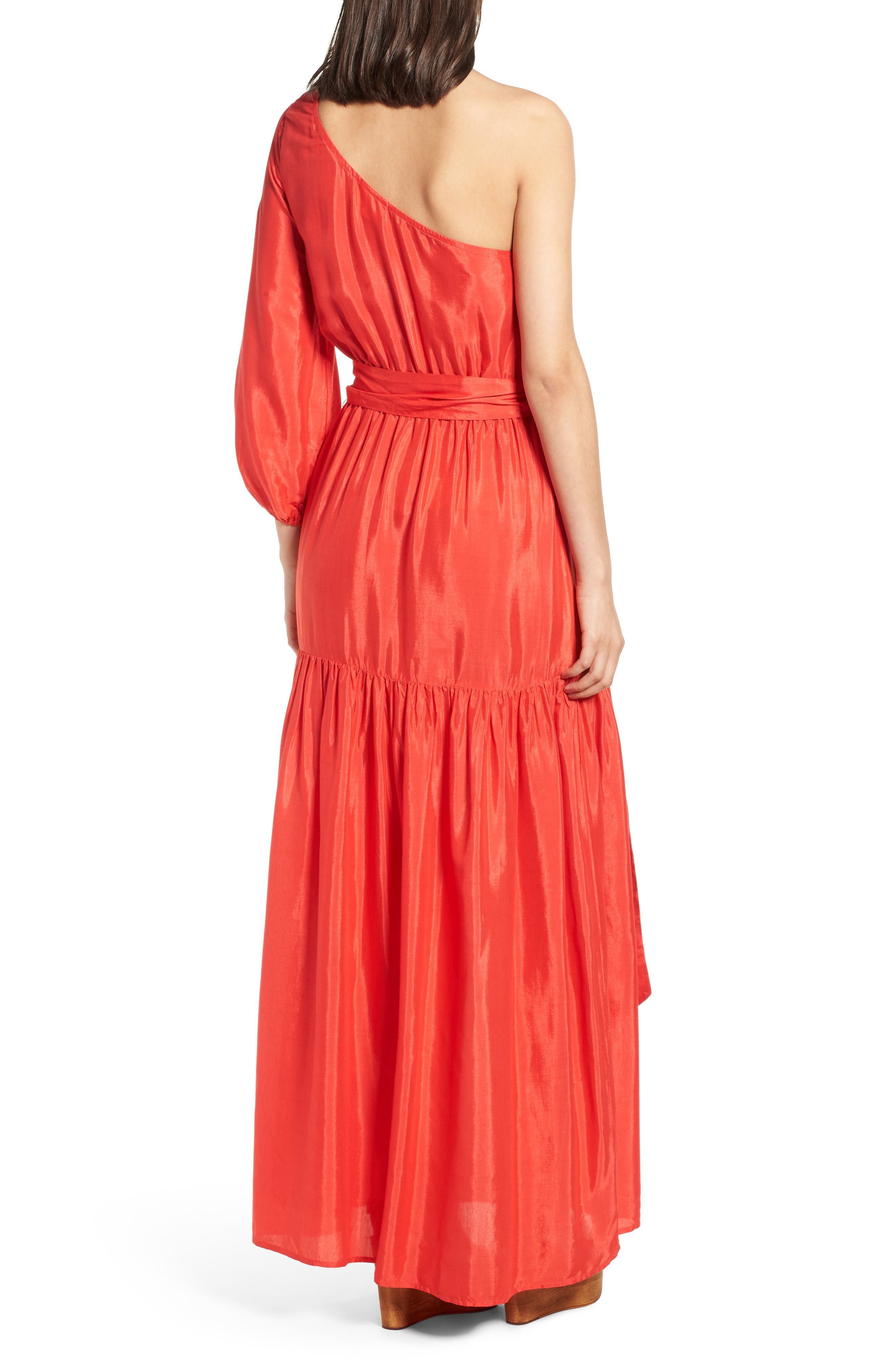One-Shoulder Maxi Dress,                             Alternate thumbnail 2, color,                             Bright Red