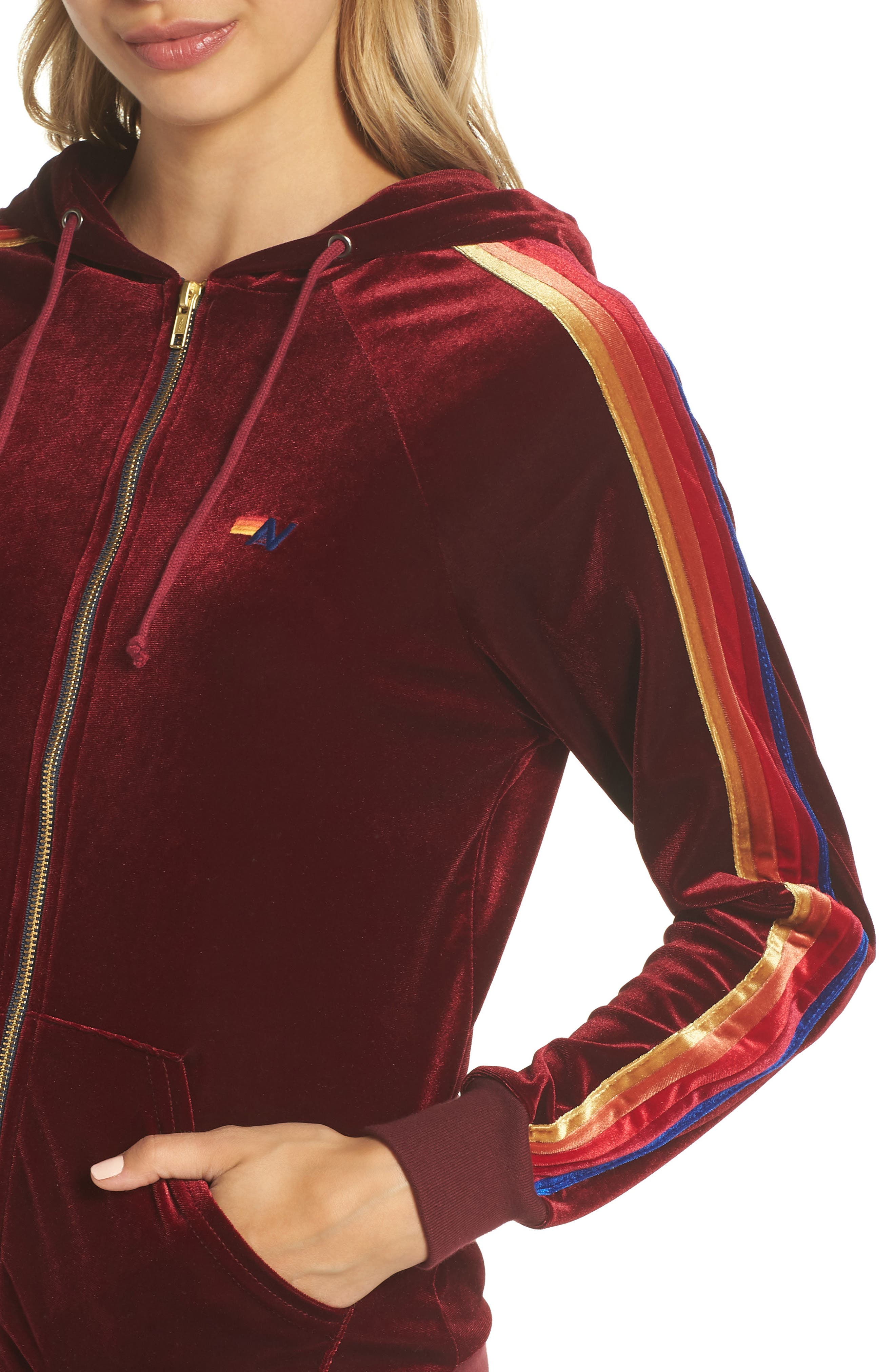 Classic Velvet Hoodie,                             Alternate thumbnail 4, color,                             Wine