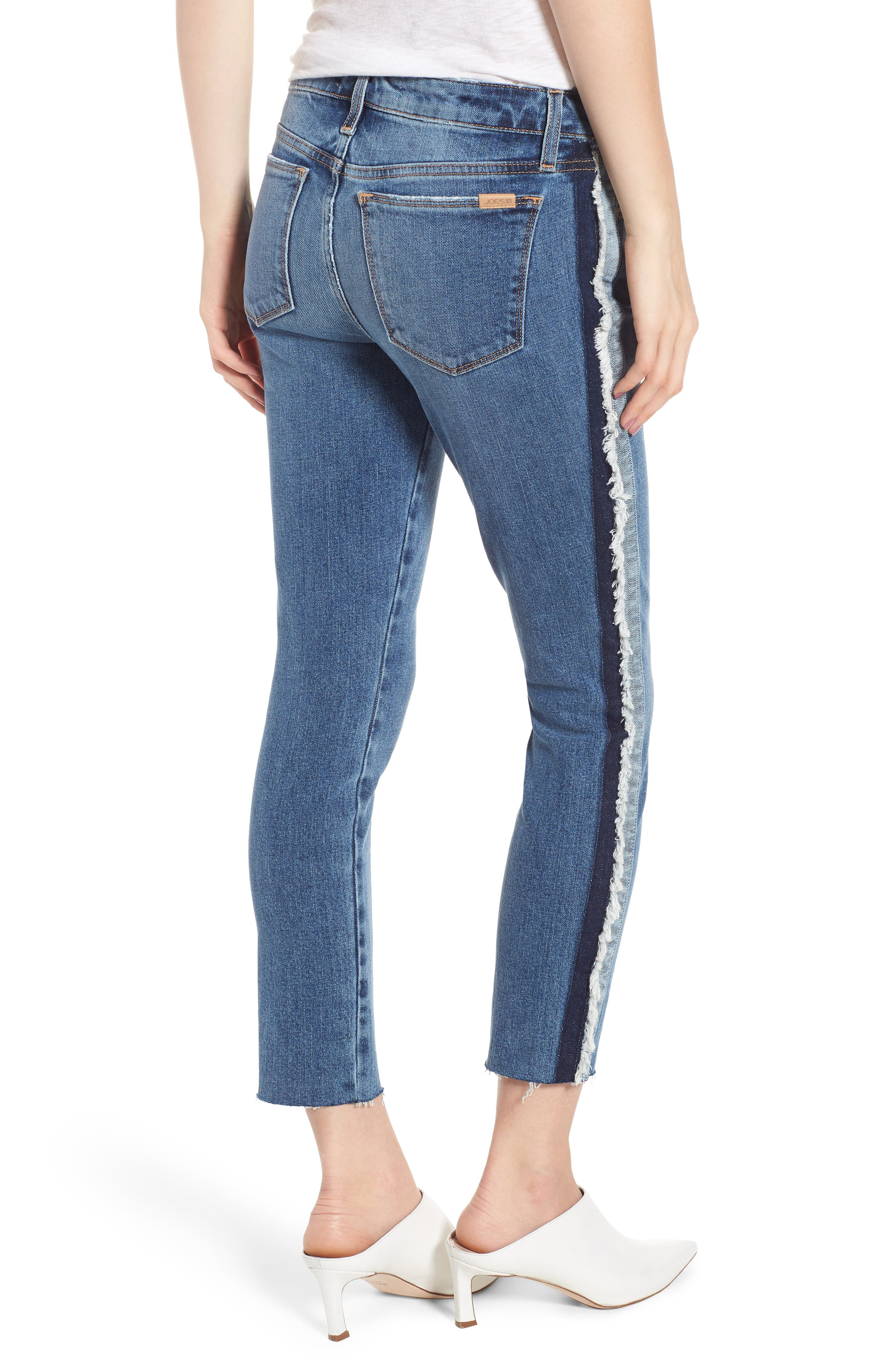 Icon Side Stripe Crop Skinny Jeans,                             Alternate thumbnail 2, color,                             Madera