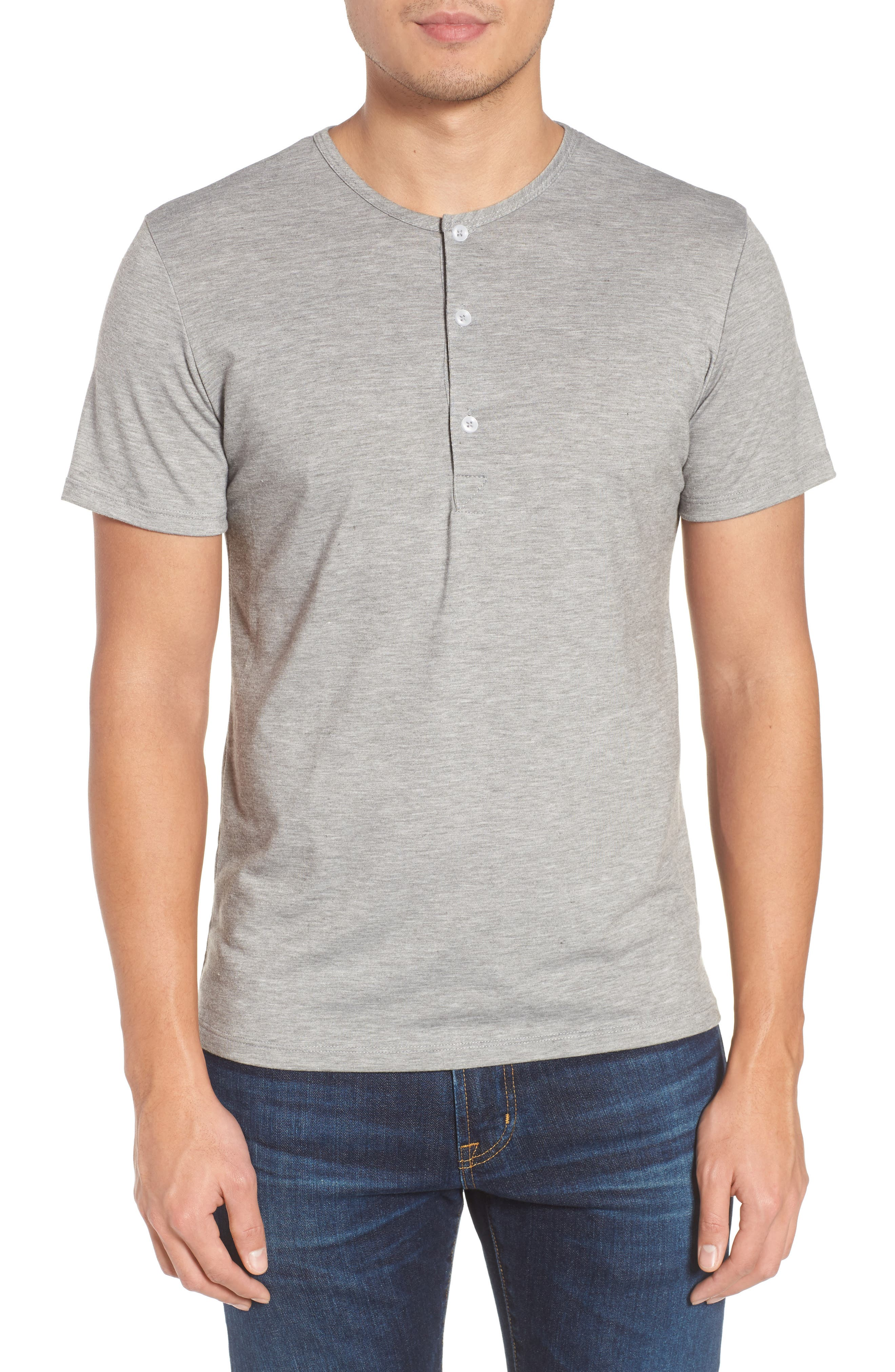 Slim Fit Short Sleeve Performance Henley T-Shirt,                         Main,                         color, Grey