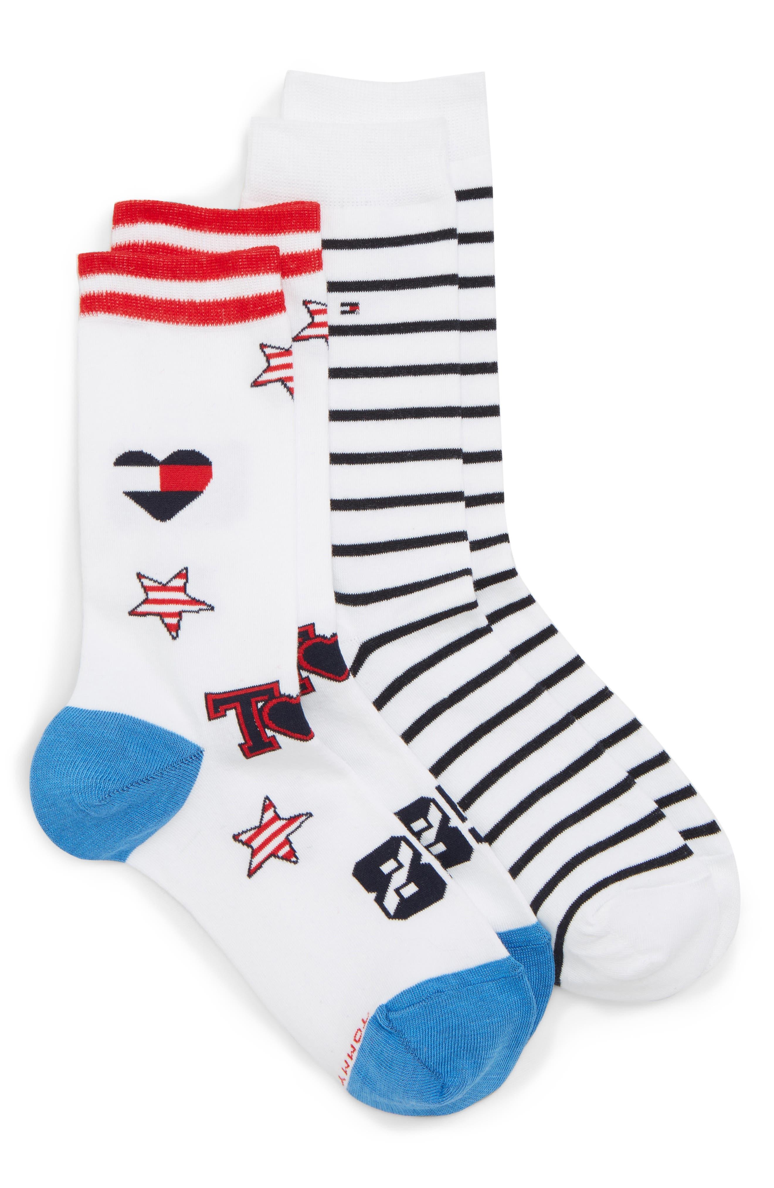2-Pack Crew Socks,                             Main thumbnail 1, color,                             White