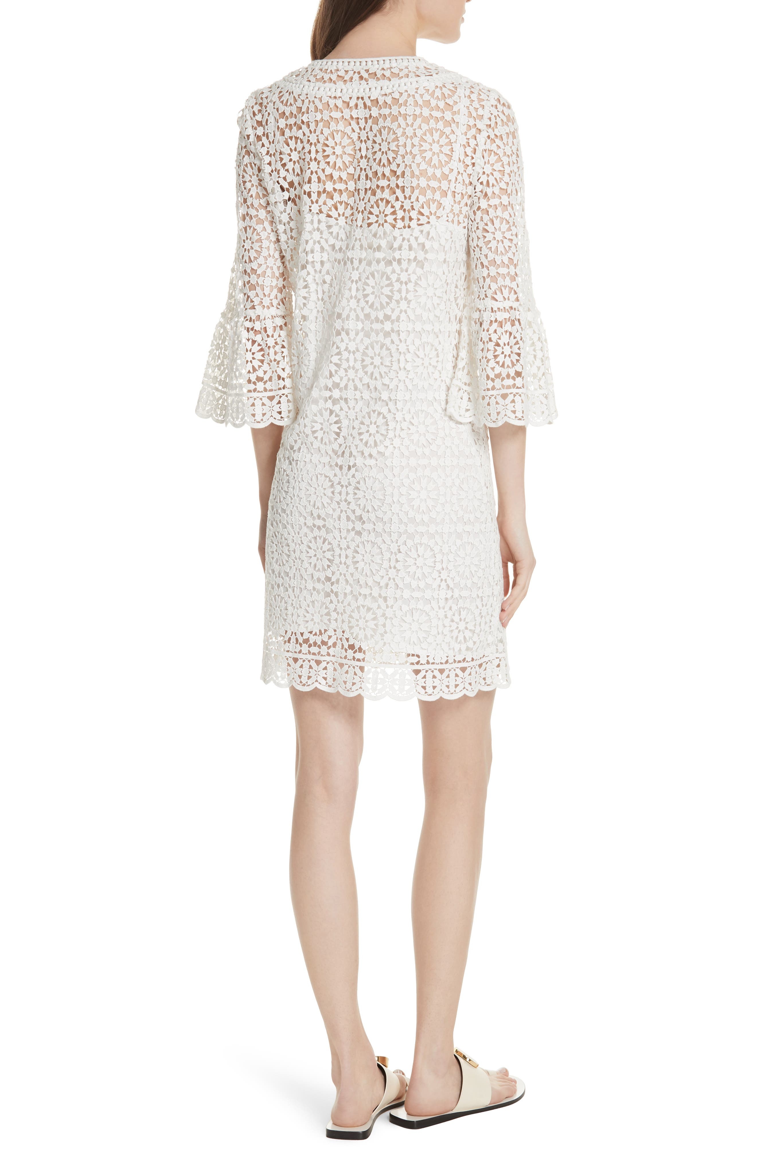 bell sleeve crochet shift dress,                             Alternate thumbnail 2, color,                             Cream