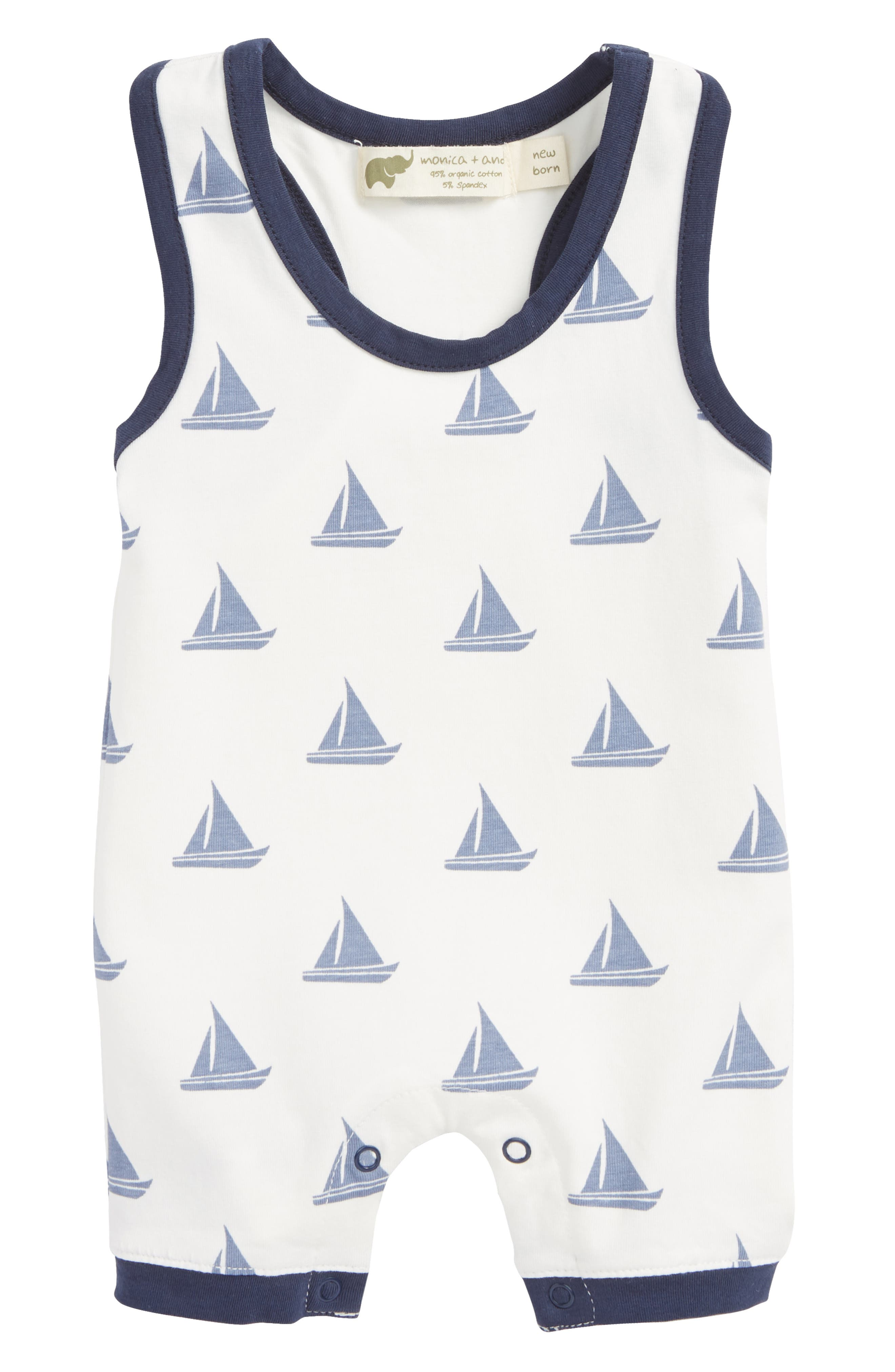 Sleeveless Romper,                         Main,                         color, Come Sail Away