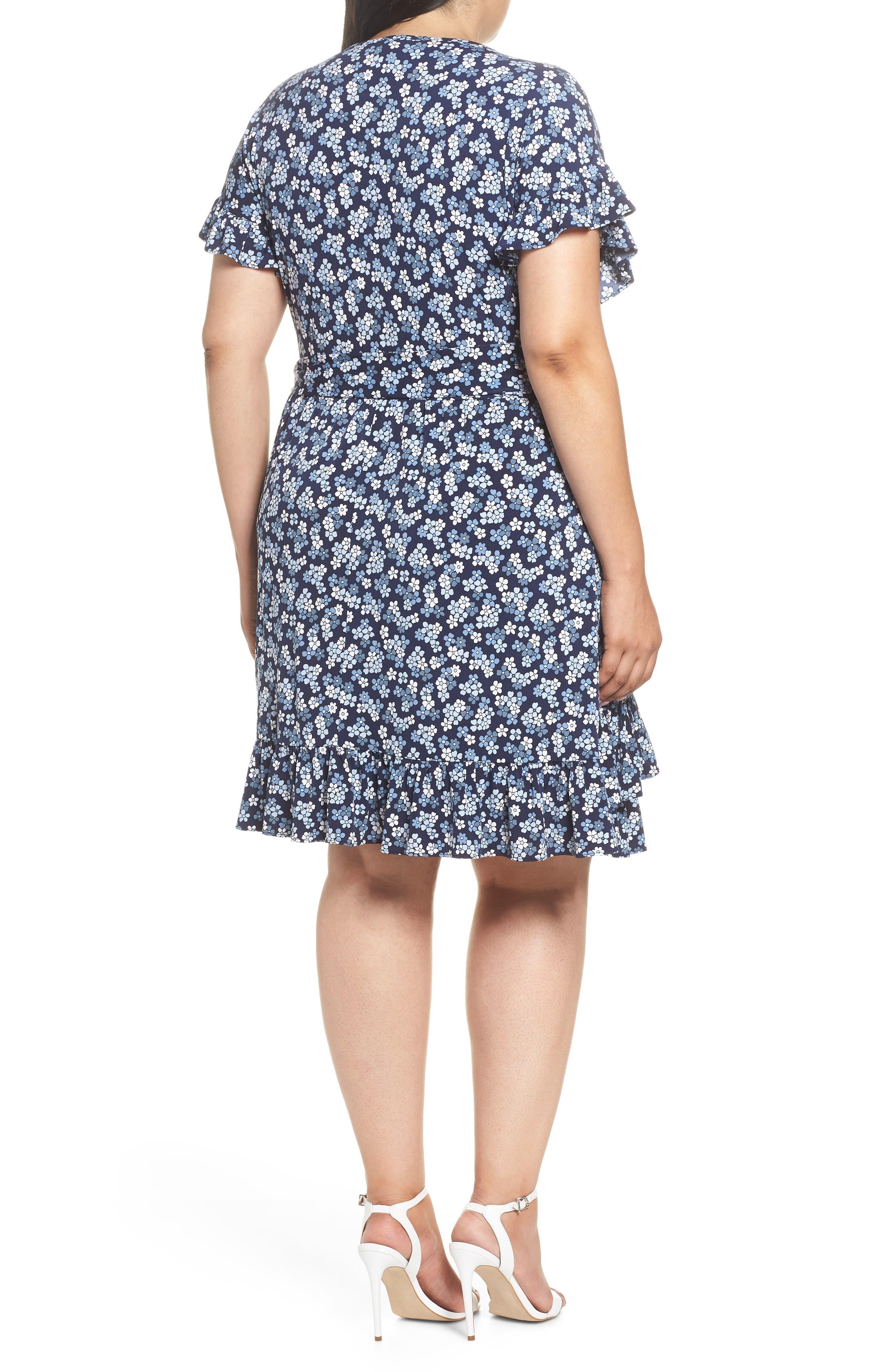 Cherry Blossom Ruffle Faux Wrap Dress,                             Alternate thumbnail 2, color,                             True Navy/ Light Chambray