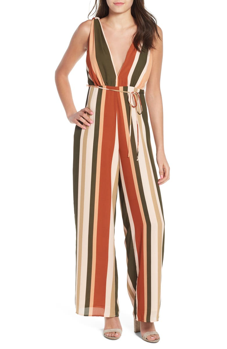 Stripe Deep V Jumpsuit