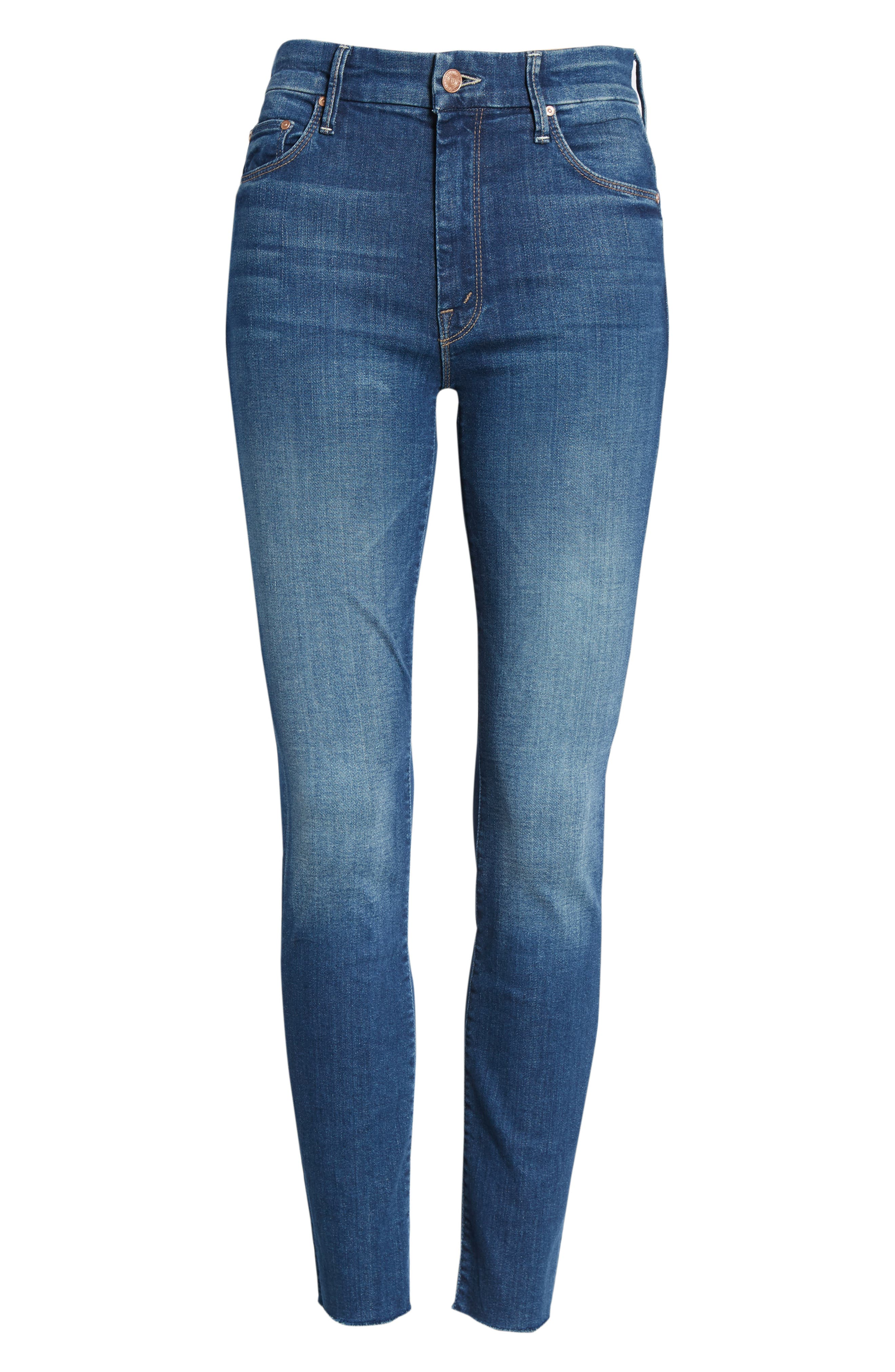 The Looker Frayed High Waist Ankle Skinny Jeans,                             Alternate thumbnail 7, color,                             Going For Gold