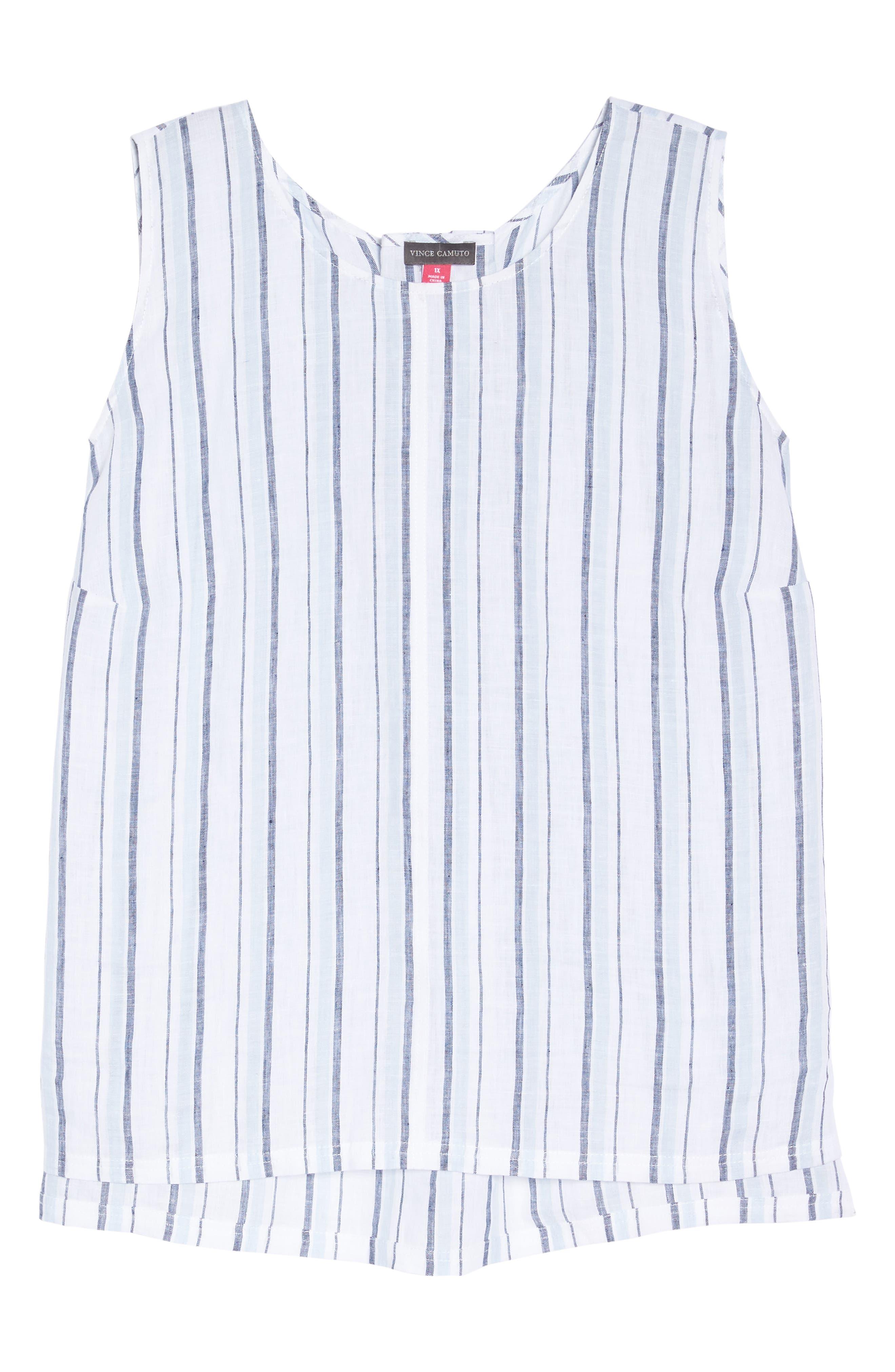 Stripe Lace-Up Back Linen Top,                             Alternate thumbnail 6, color,                             Dew Blue