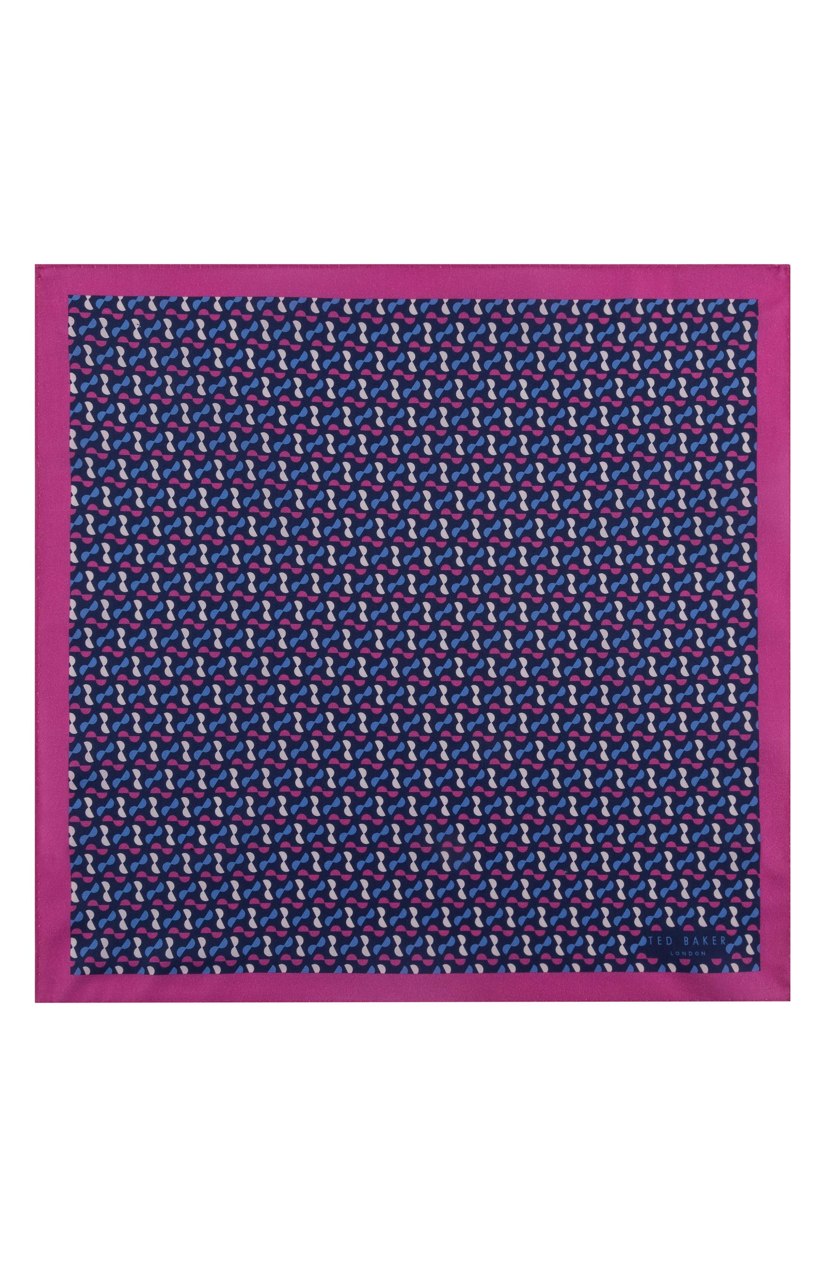 Geometric Cotton Pocket Square,                             Alternate thumbnail 2, color,                             Pink