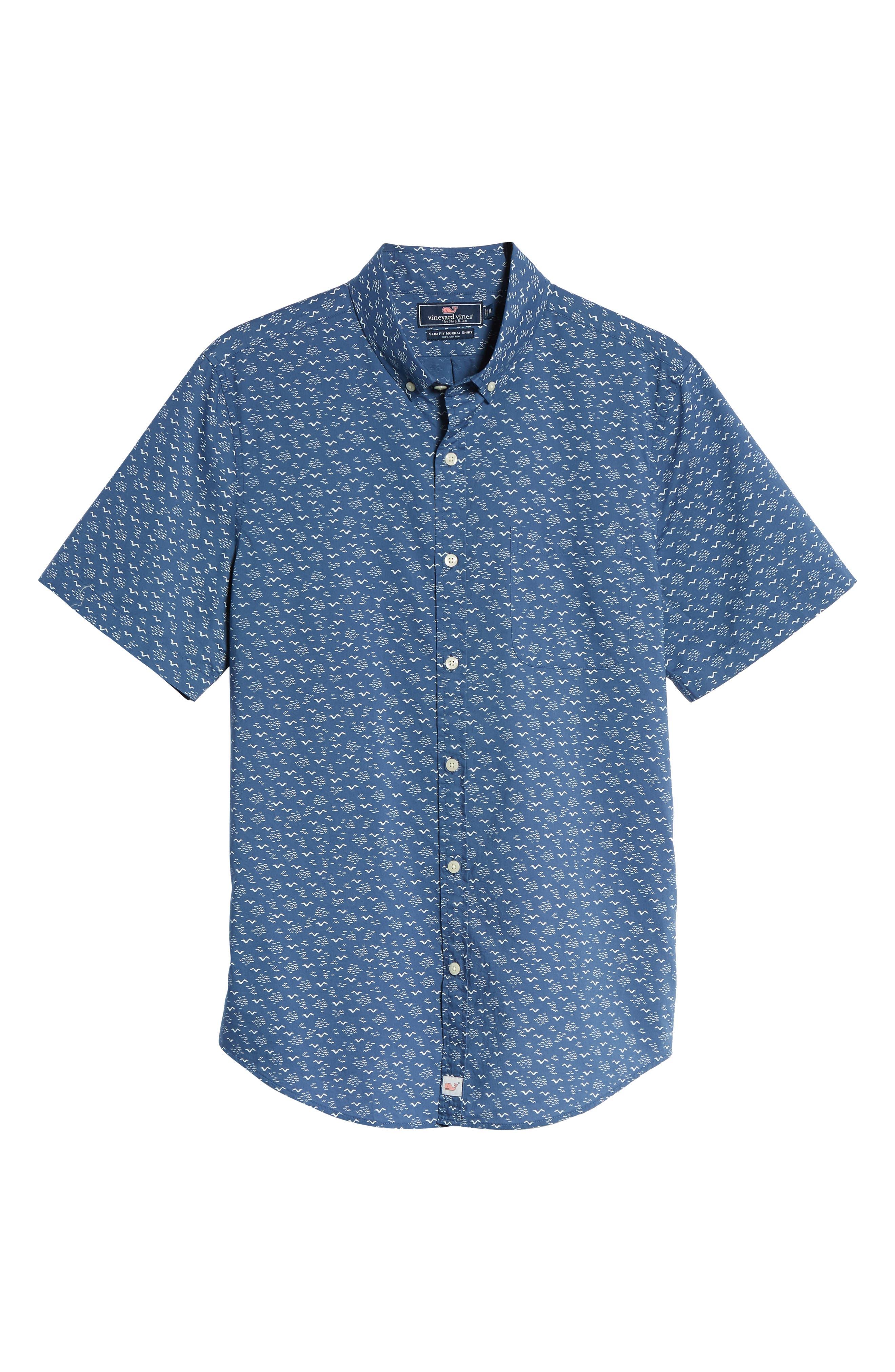 Mini Seagulls Murray Slim Fit Sport Shirt,                             Alternate thumbnail 6, color,                             Moonshine