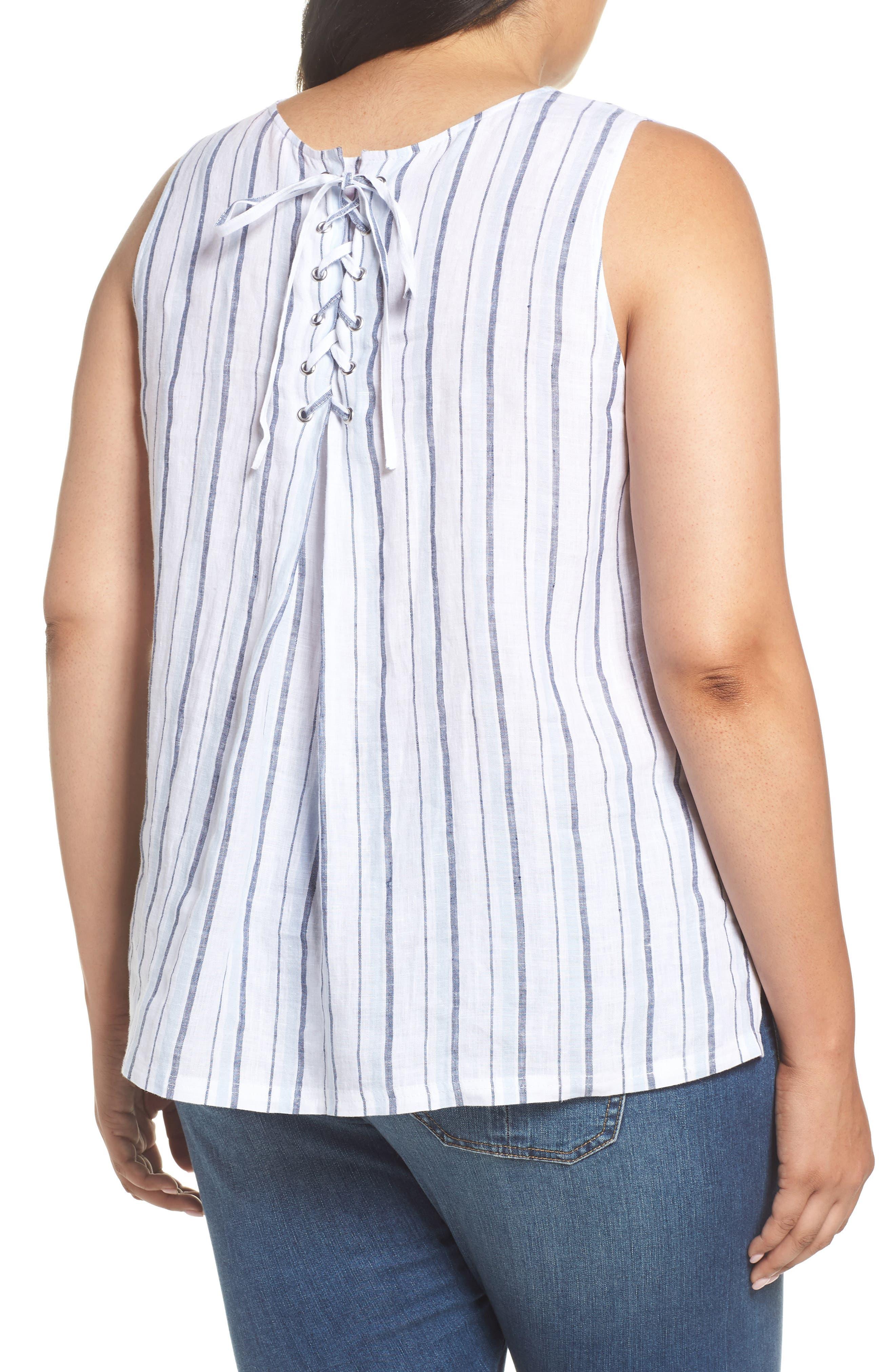 Stripe Lace-Up Back Linen Top,                             Alternate thumbnail 2, color,                             Dew Blue