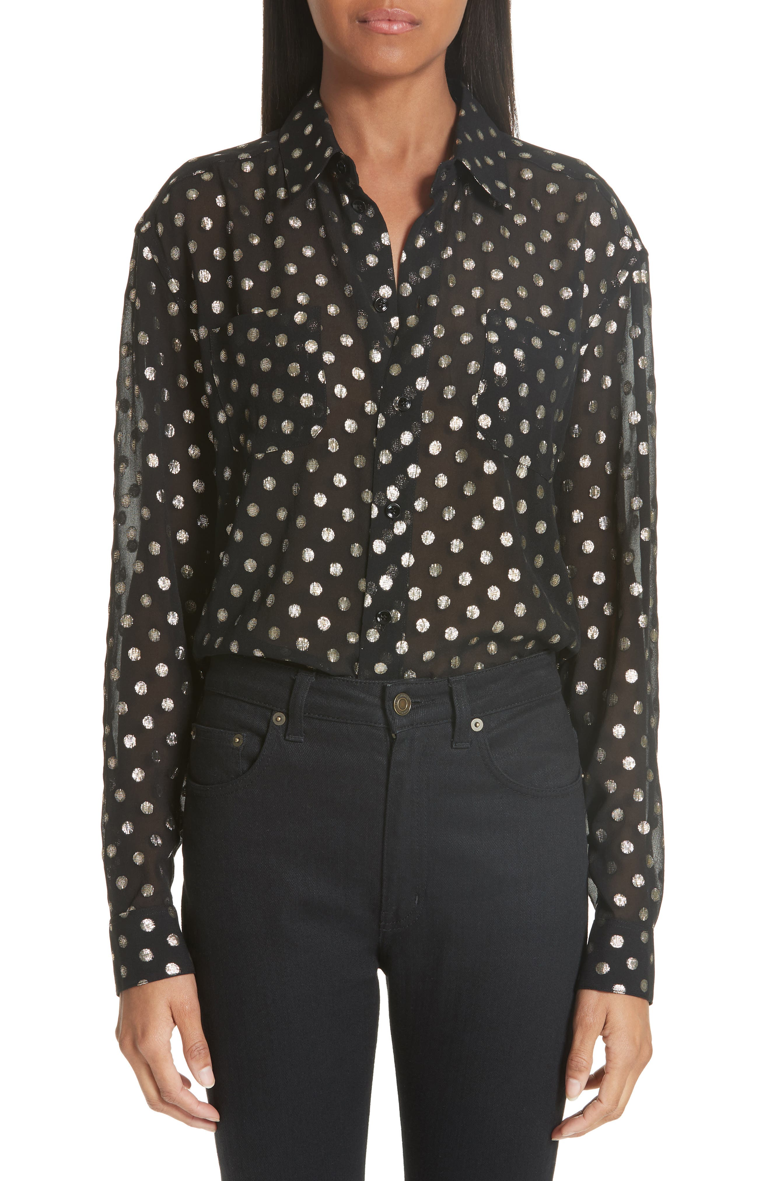 Saint Laurent Lamé Polka Dot Silk Georgette Blouse