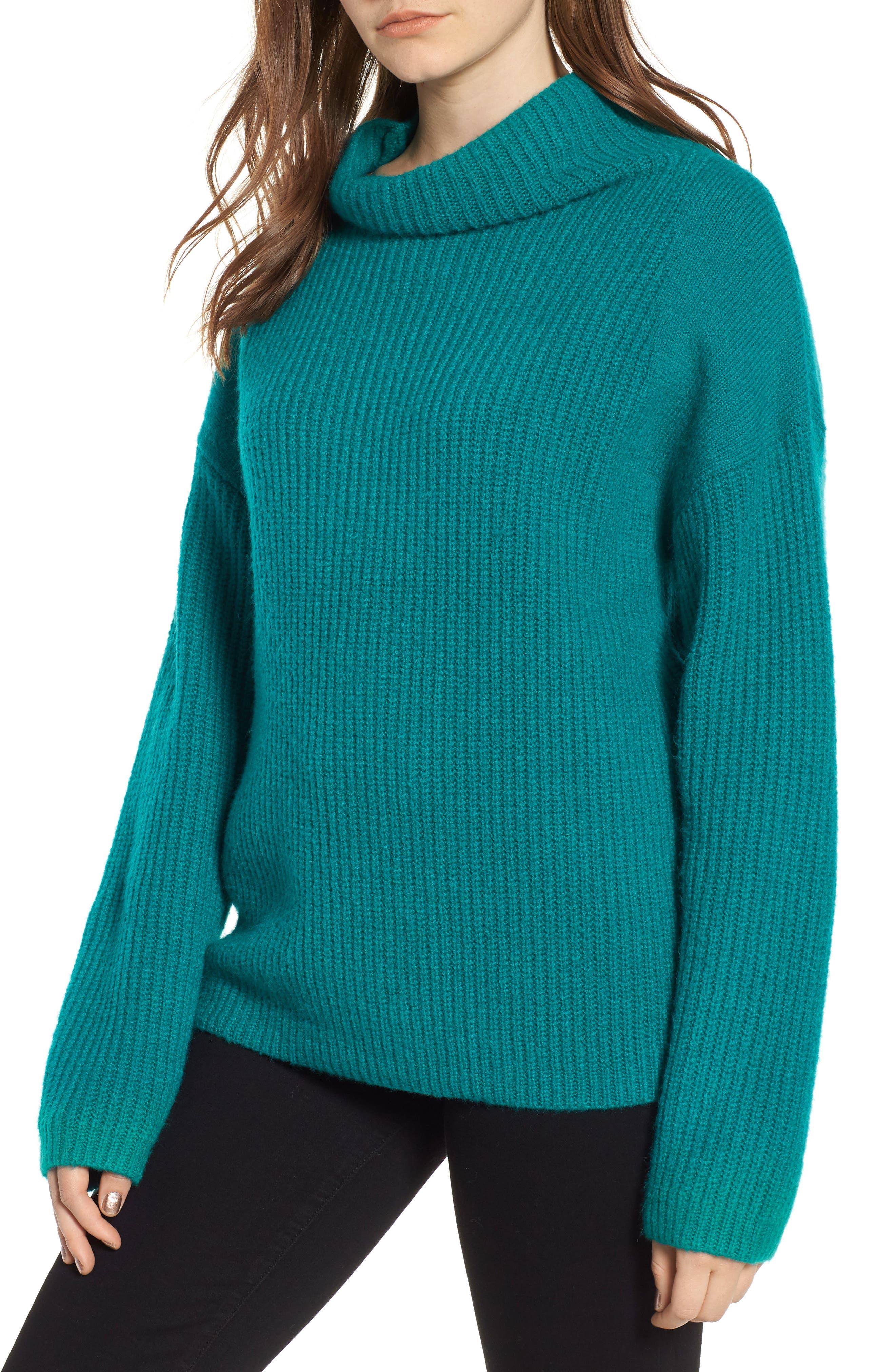 Rib Funnel Neck Sweater,                             Main thumbnail 1, color,                             Teal Sail