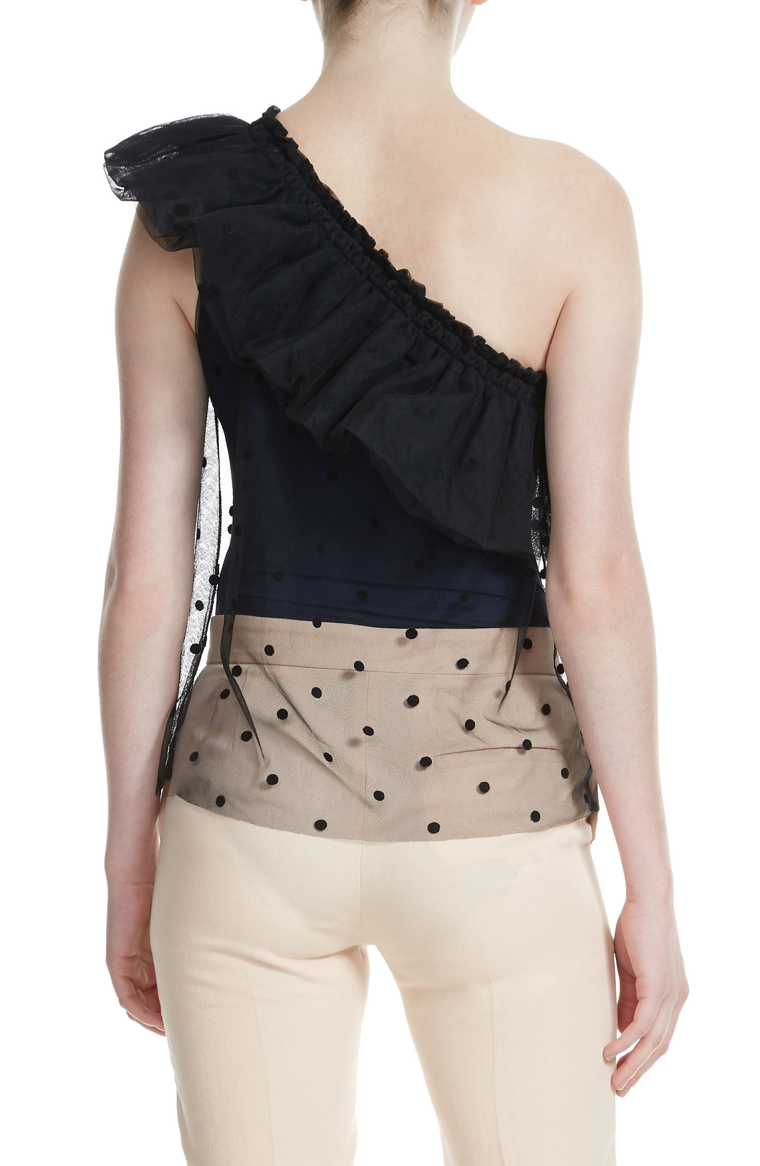 Lowers Dot Mesh Overlay One Shoulder Top,                             Alternate thumbnail 2, color,                             Marine