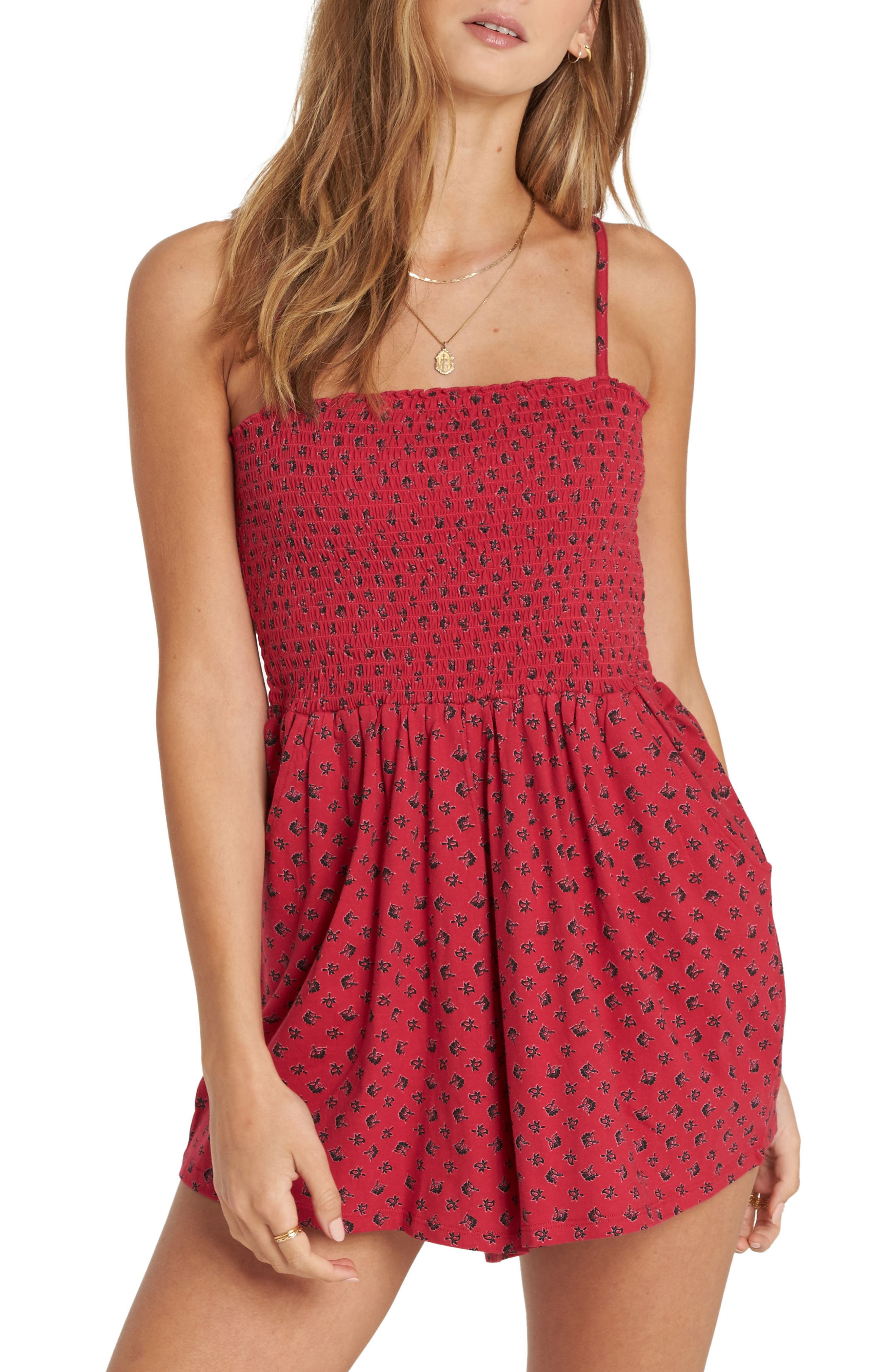 So Sure Smocked Romper,                             Main thumbnail 1, color,                             Crimson