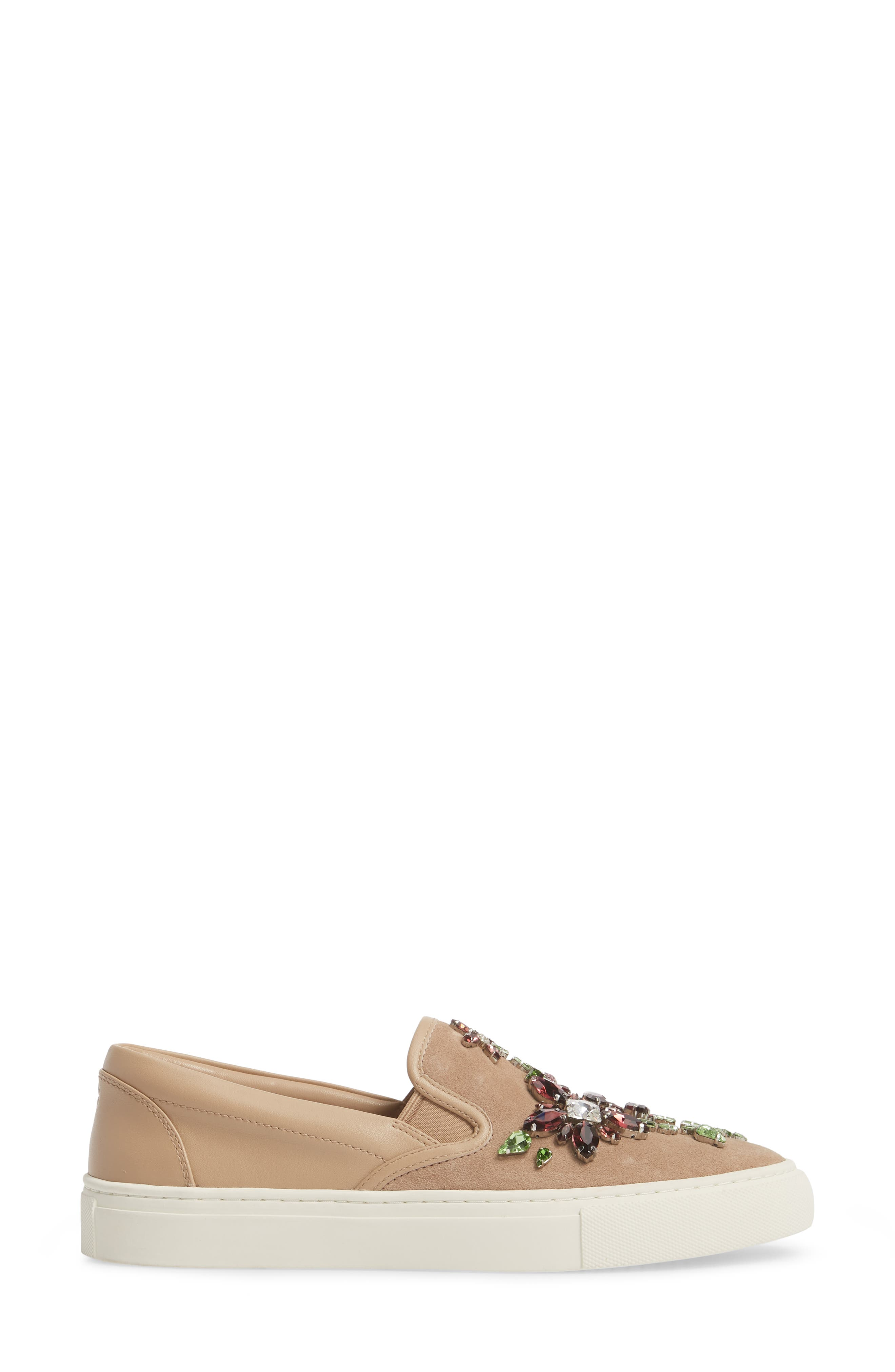 Meadow Embellished Slip-On Sneaker,                             Alternate thumbnail 3, color,                             Perfect Sand/ Multi