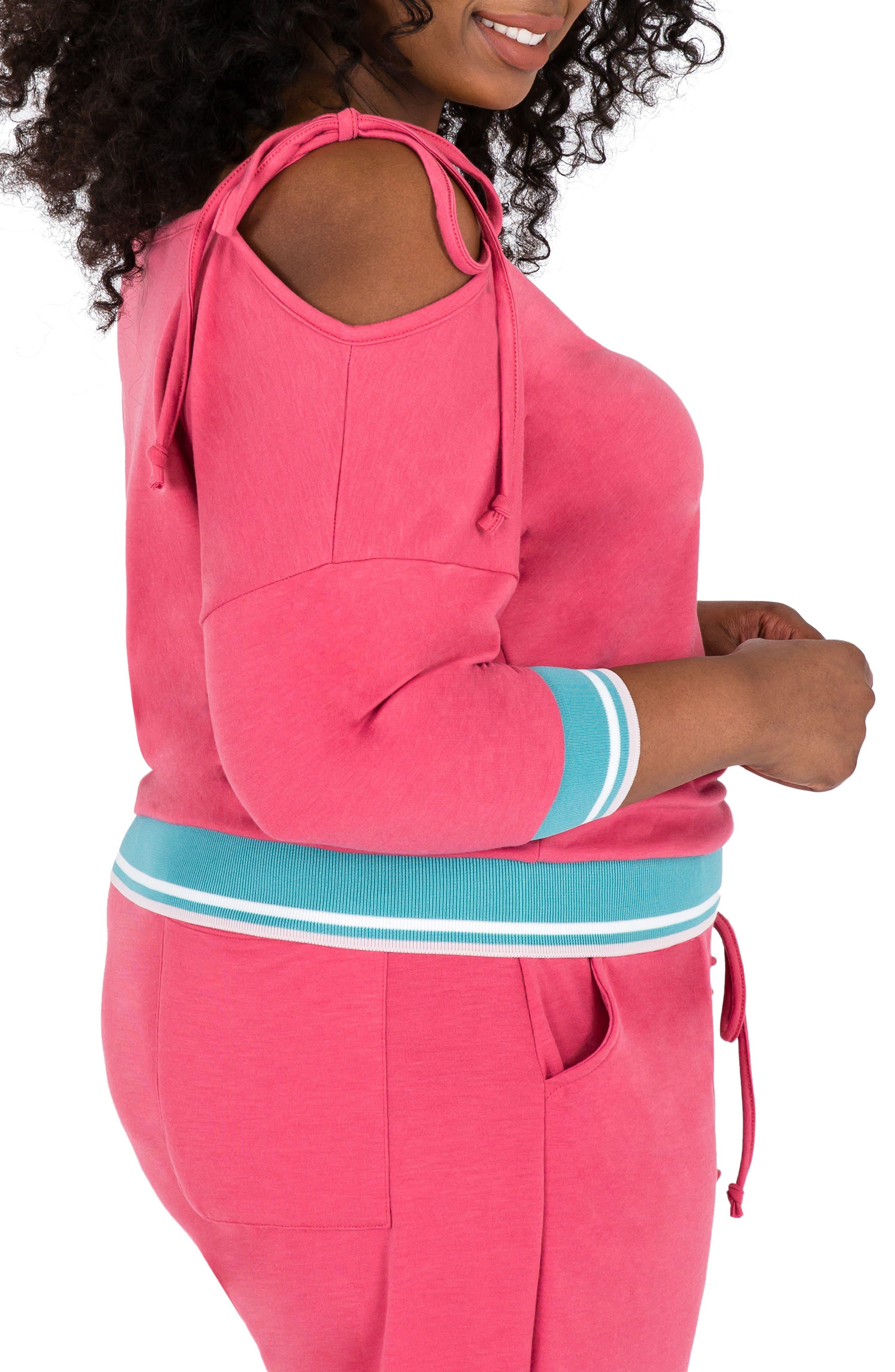 Janae Convertible Knit Top,                             Alternate thumbnail 3, color,                             Deep Rose Pink