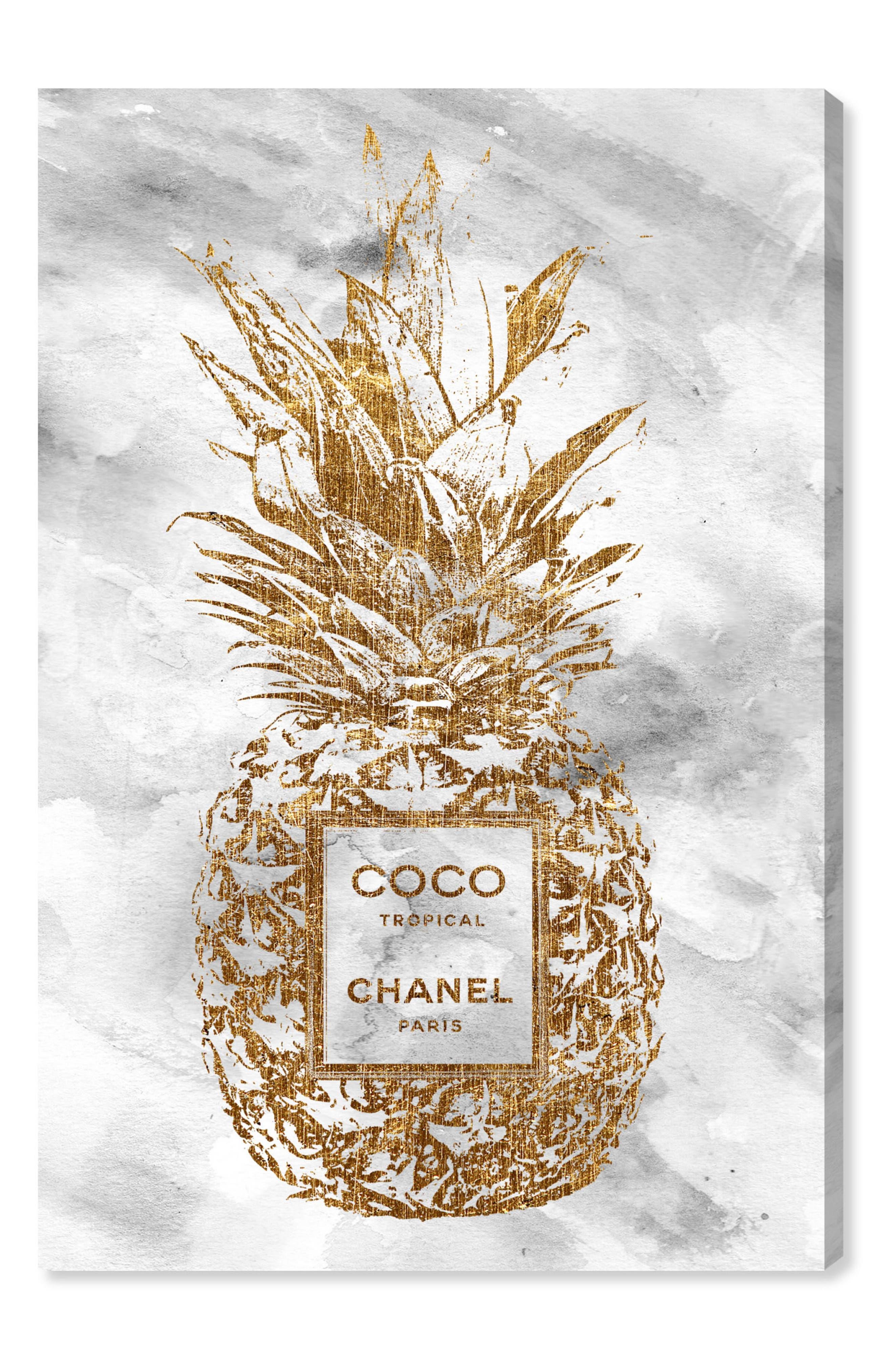 Tropical Parfum Canvas Wall Art,                         Main,                         color, Gold
