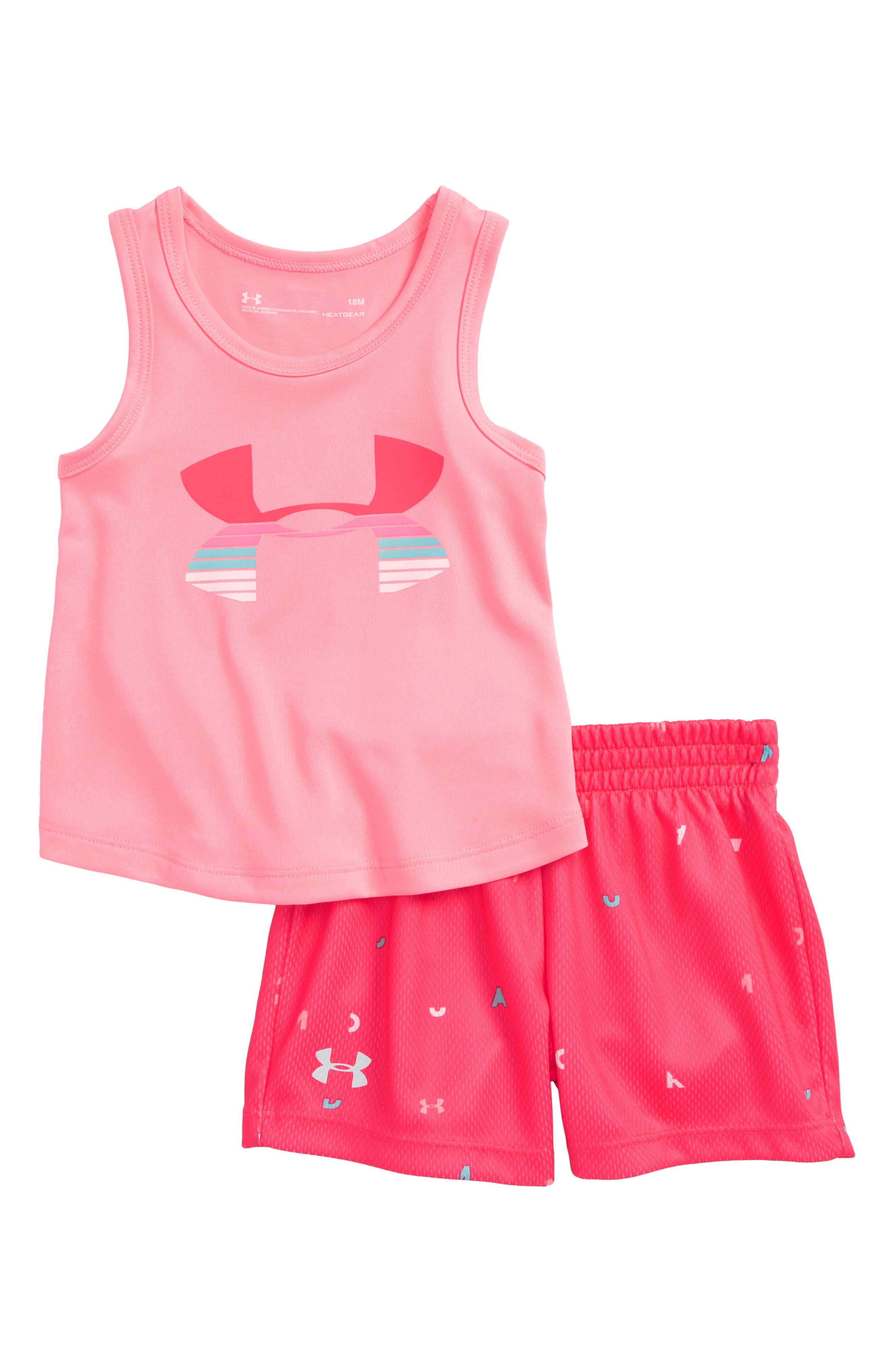 Scramble Logo HeatGear<sup>®</sup> Tank & Mesh Shorts Set,                         Main,                         color, Pop Pink