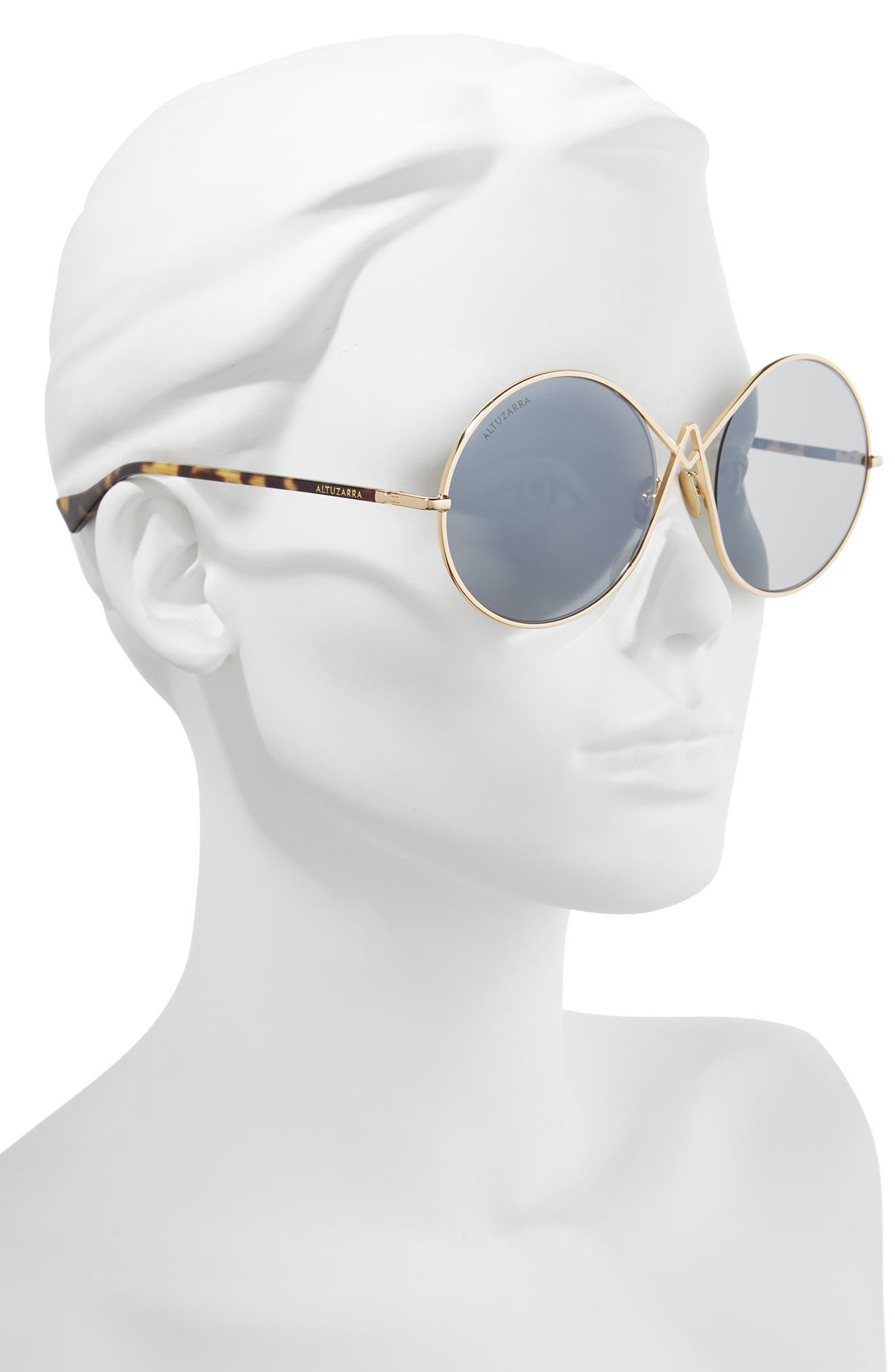 60mm Round Sunglasses,                             Alternate thumbnail 2, color,                             Gold