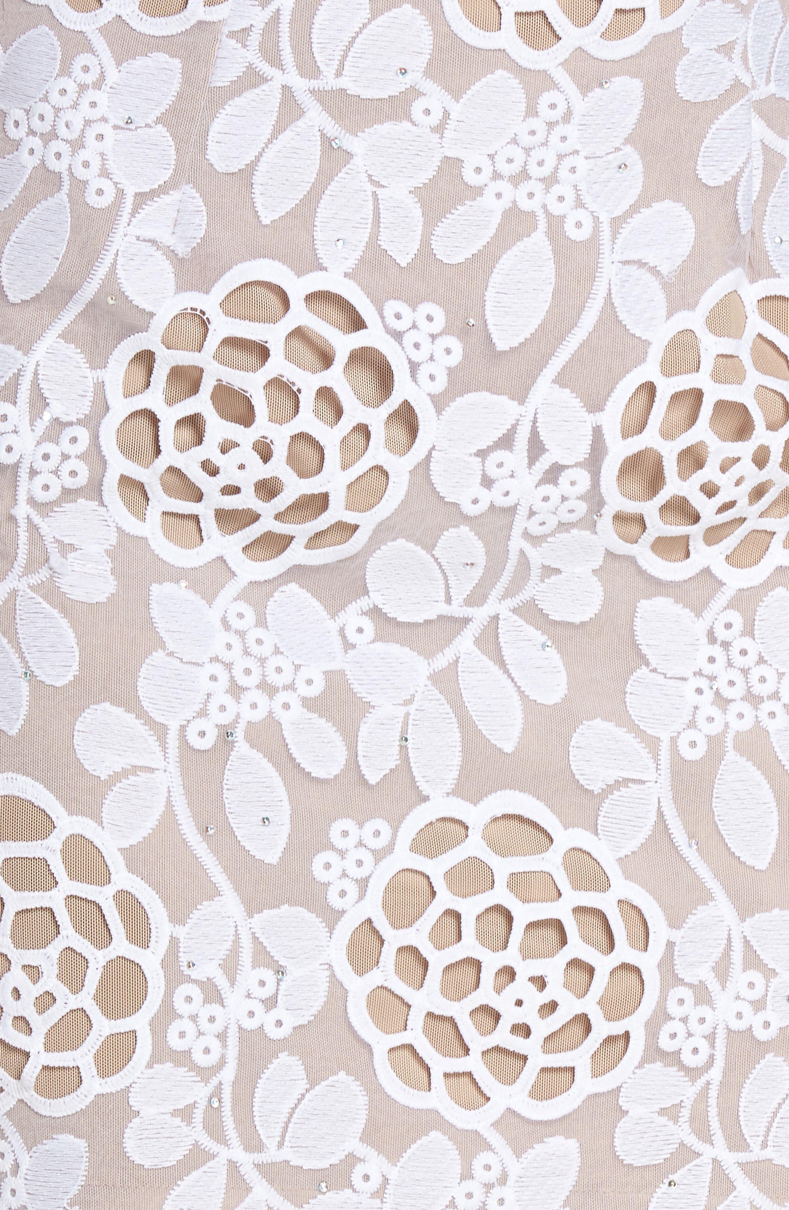 Capri Floral Lace Midi Dress,                             Alternate thumbnail 5, color,                             White