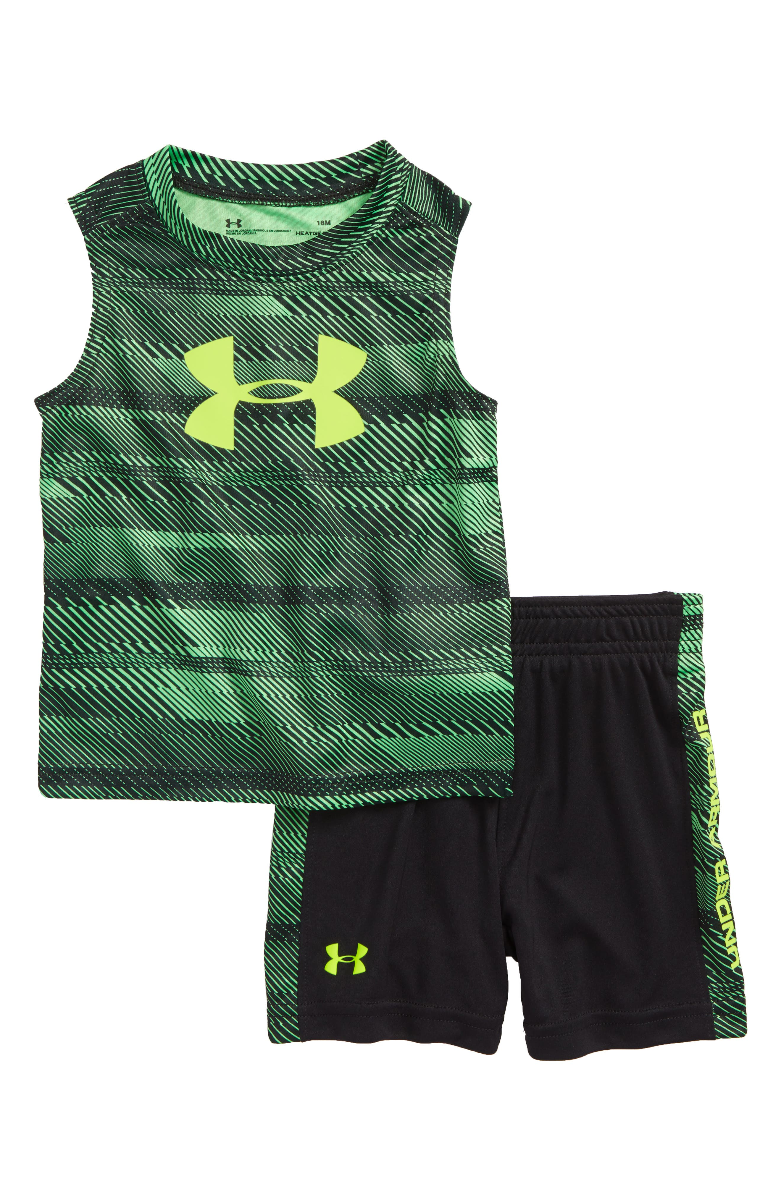 Speed Lines Graphic Tank & Shorts Set,                         Main,                         color, Laser Green