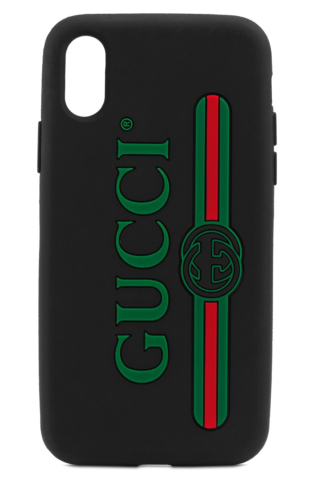 Logo iPhone X Case,                             Main thumbnail 1, color,                             Nero/ Vert Red Vert