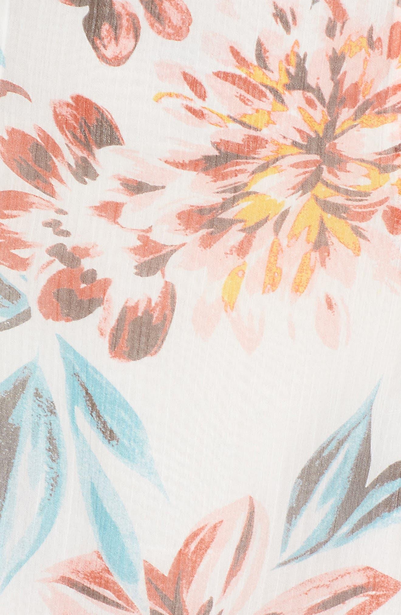 Lanzo Off the Shoulder Dress,                             Alternate thumbnail 5, color,                             Dahlia Floral