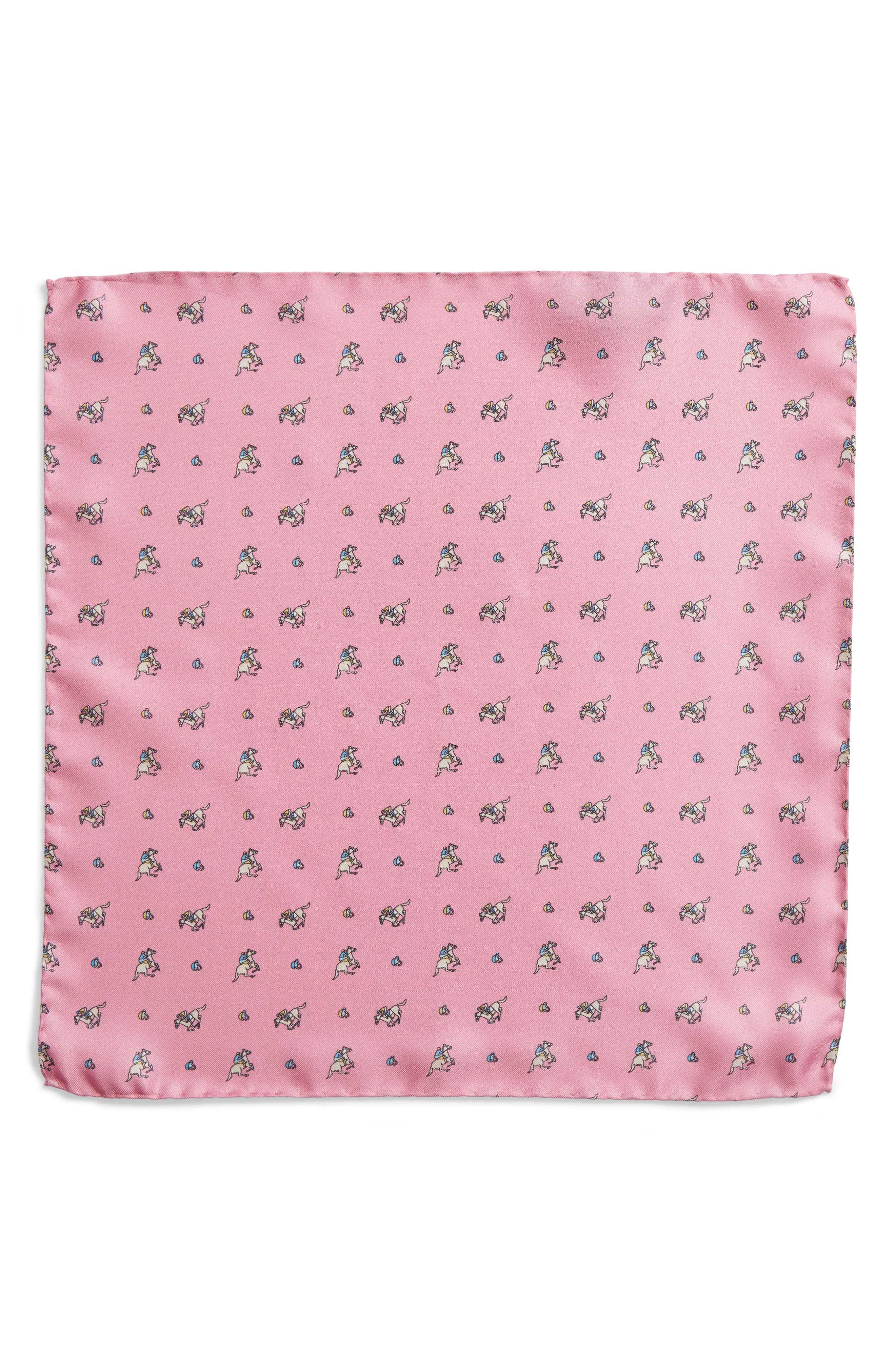 Riding Derby Silk Pocket Square,                             Alternate thumbnail 2, color,                             Pink