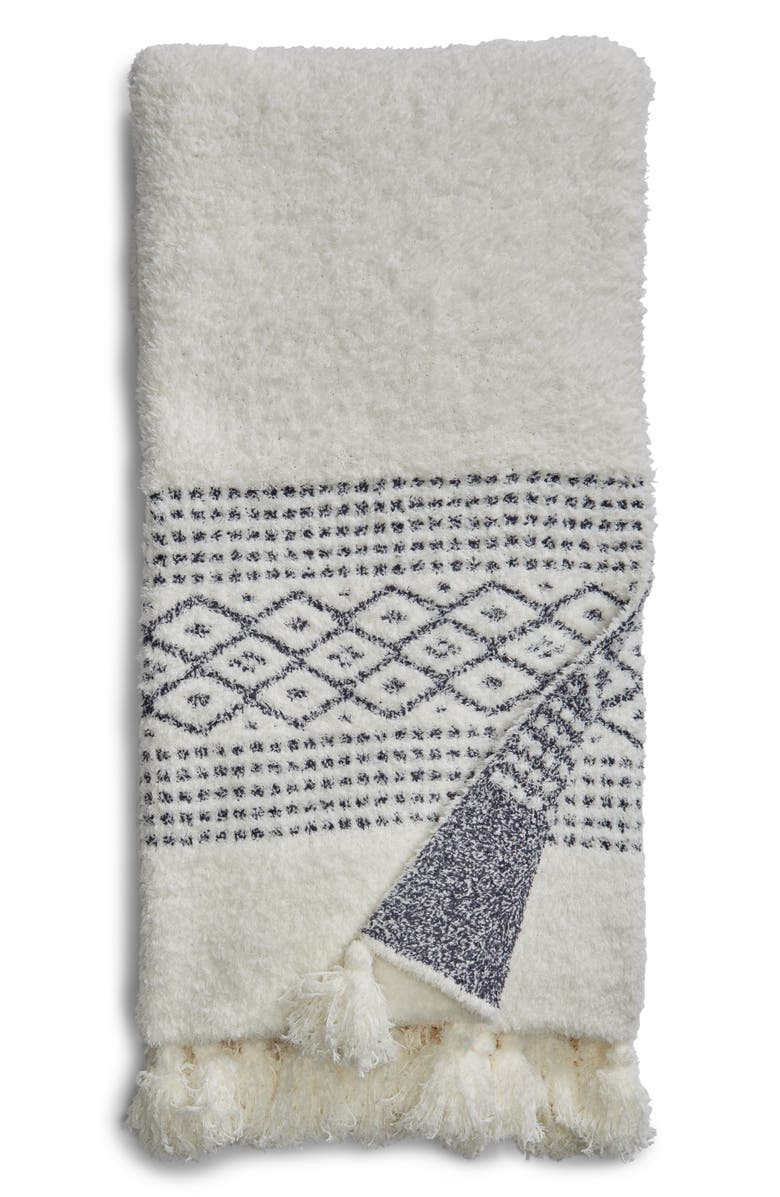 CozyChic<sup>®</sup> Luxe Casa Throw Blanket,                         Main,                         color, Pearl/ Pacific Blue