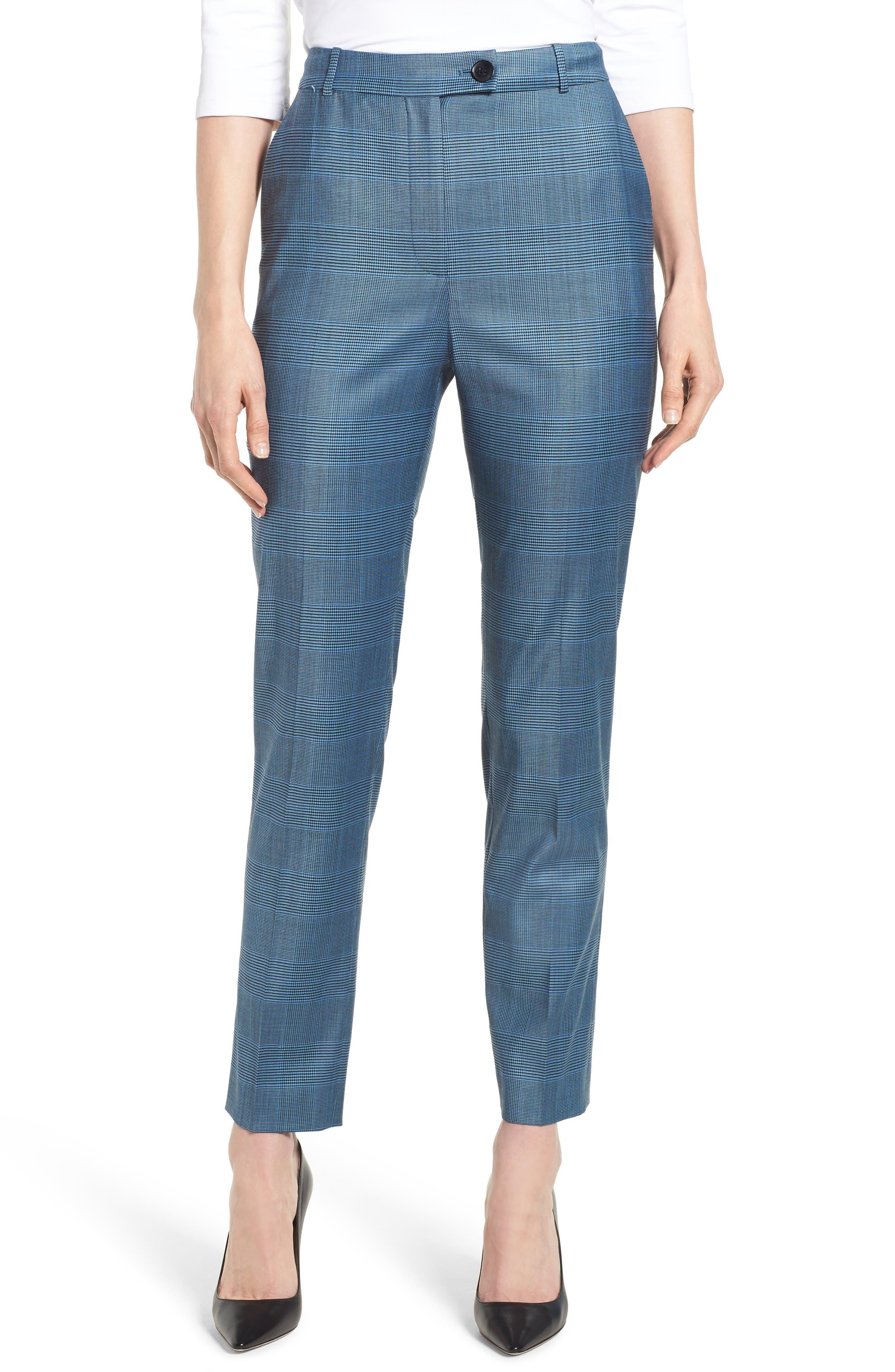Tofilia Glencheck Slim Fit Trousers,                         Main,                         color, Sailor Blue Fantasy