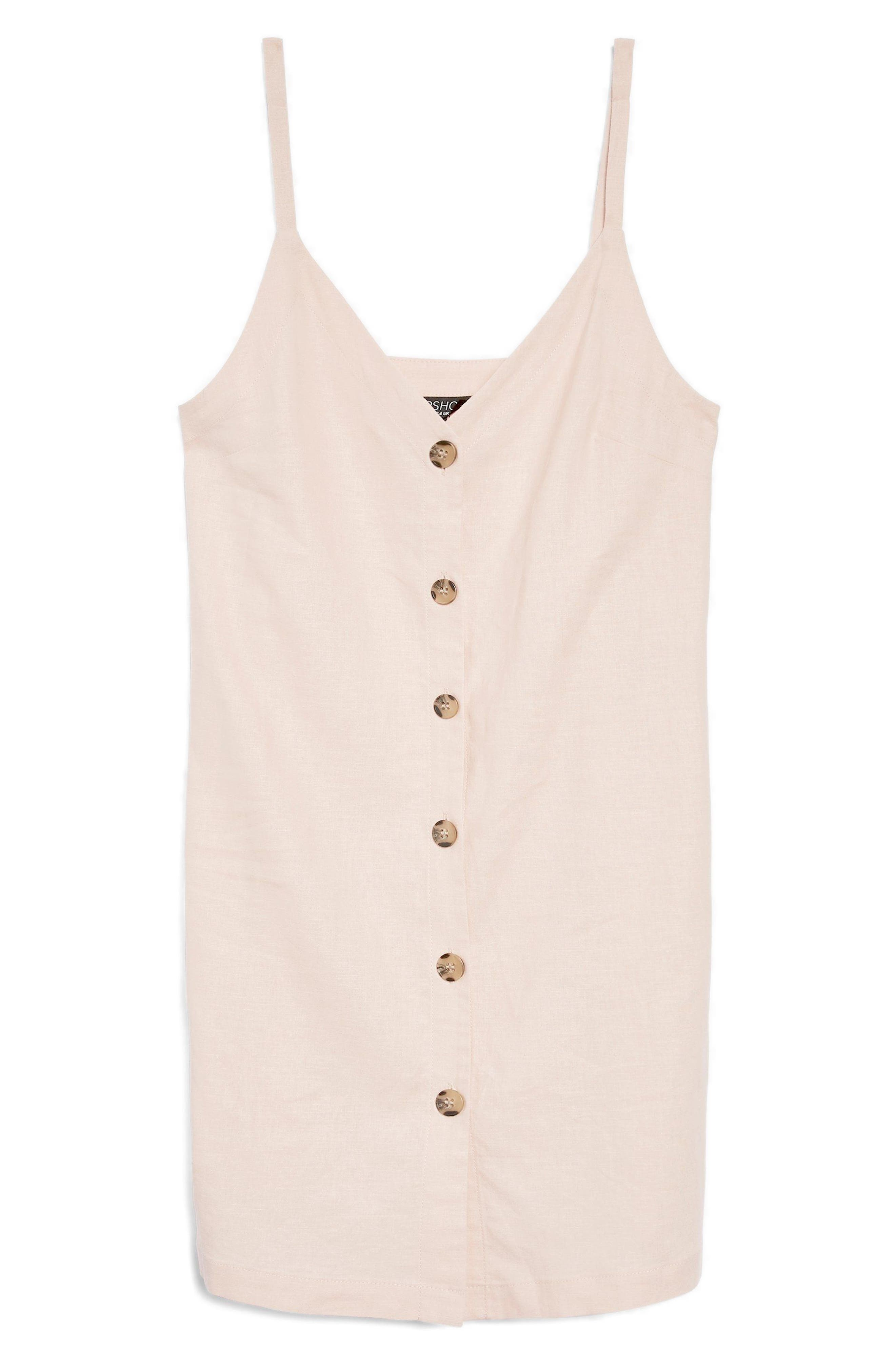 Button Mini Slipdress,                             Alternate thumbnail 4, color,                             Light Pink
