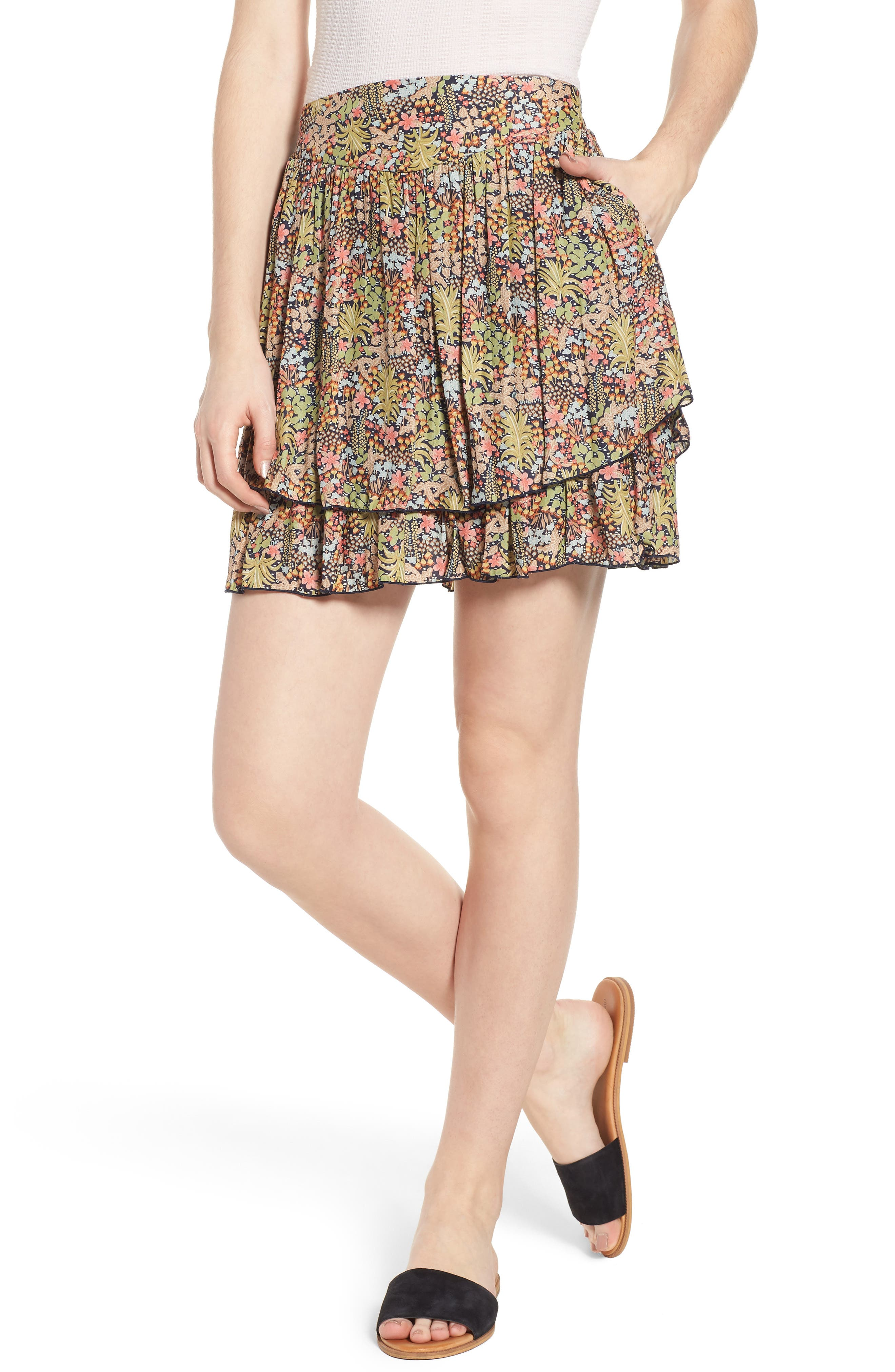 Double Layer Miniskirt,                         Main,                         color, Color 18 Combo B