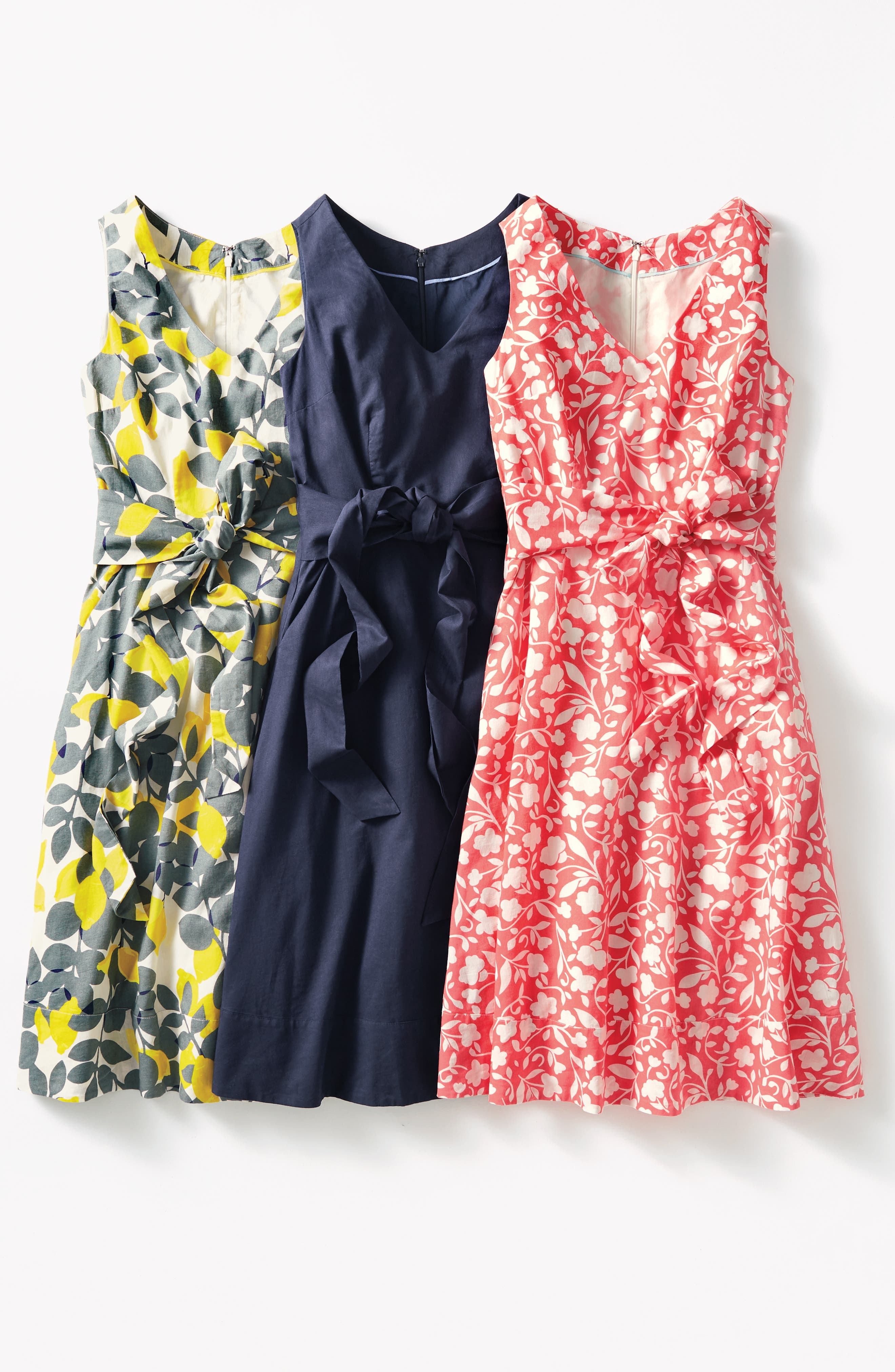 Jade Fit & Flare Linen Cotton Dress,                             Alternate thumbnail 6, color,                             Dark Sage Lemons