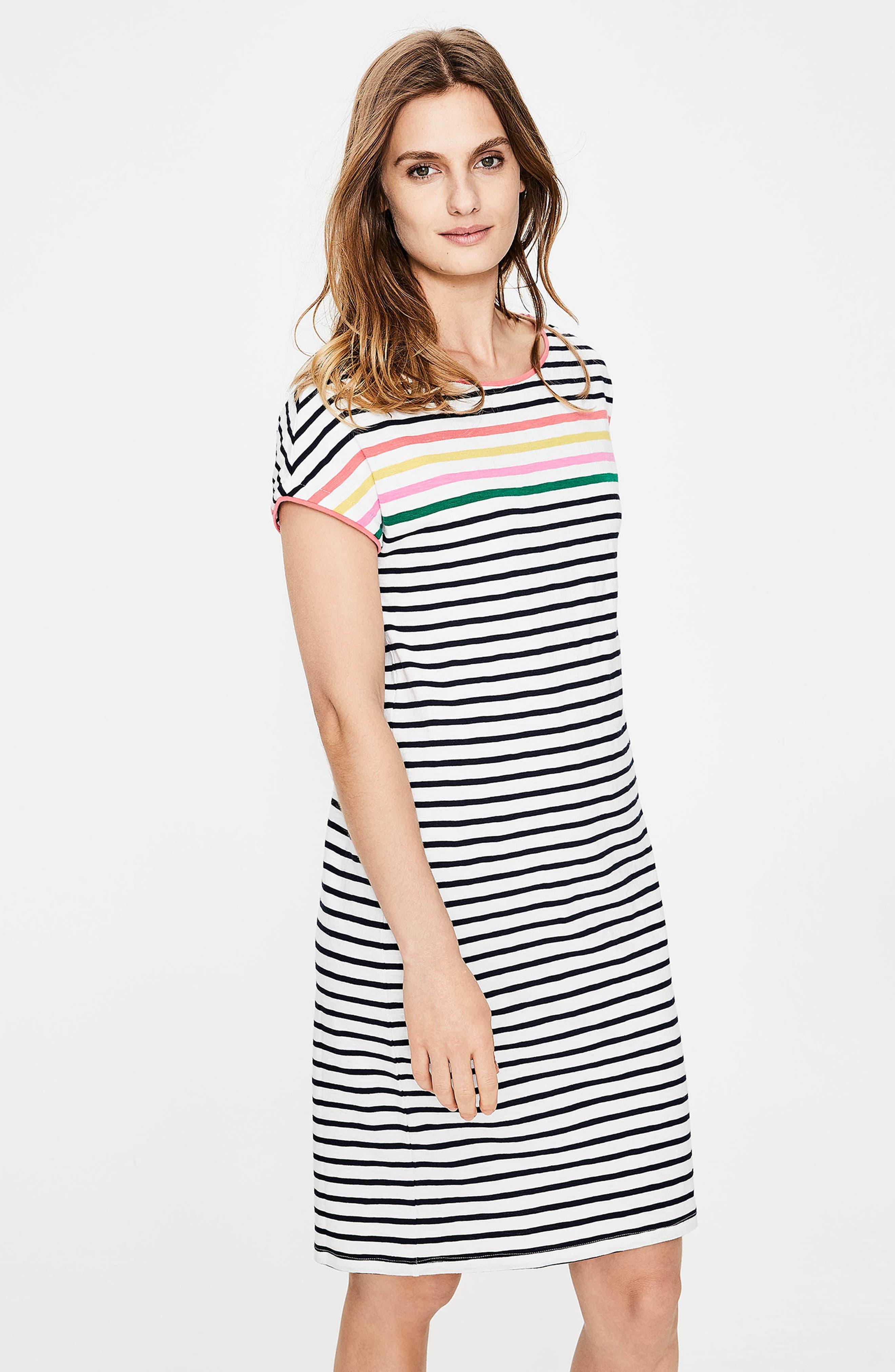 Paulina Stripe T-Shirt Dress,                             Alternate thumbnail 5, color,                             Rainbow Multi Stripe