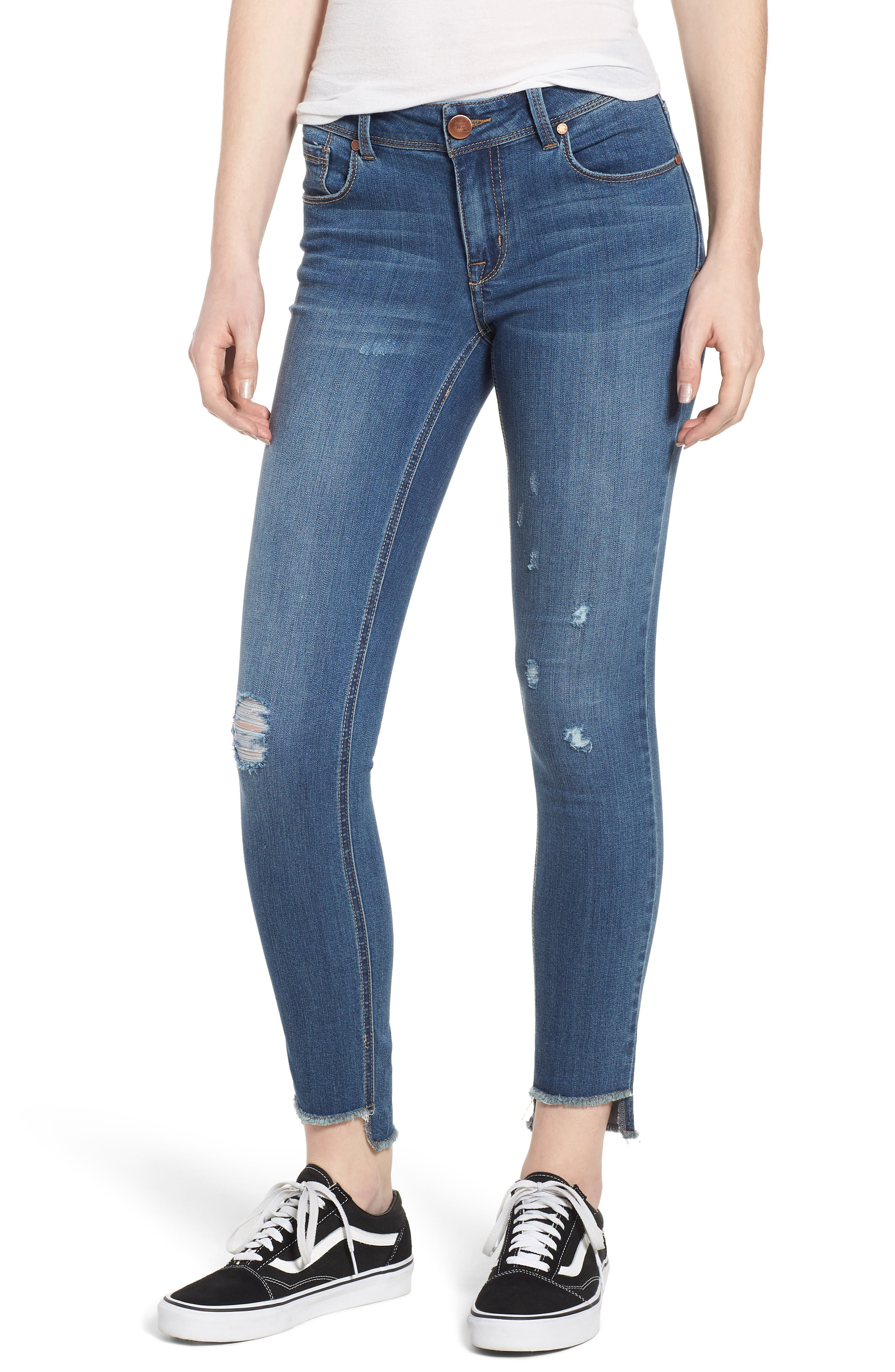 Ripped Step Hem Skinny Jeans,                         Main,                         color, Andrea