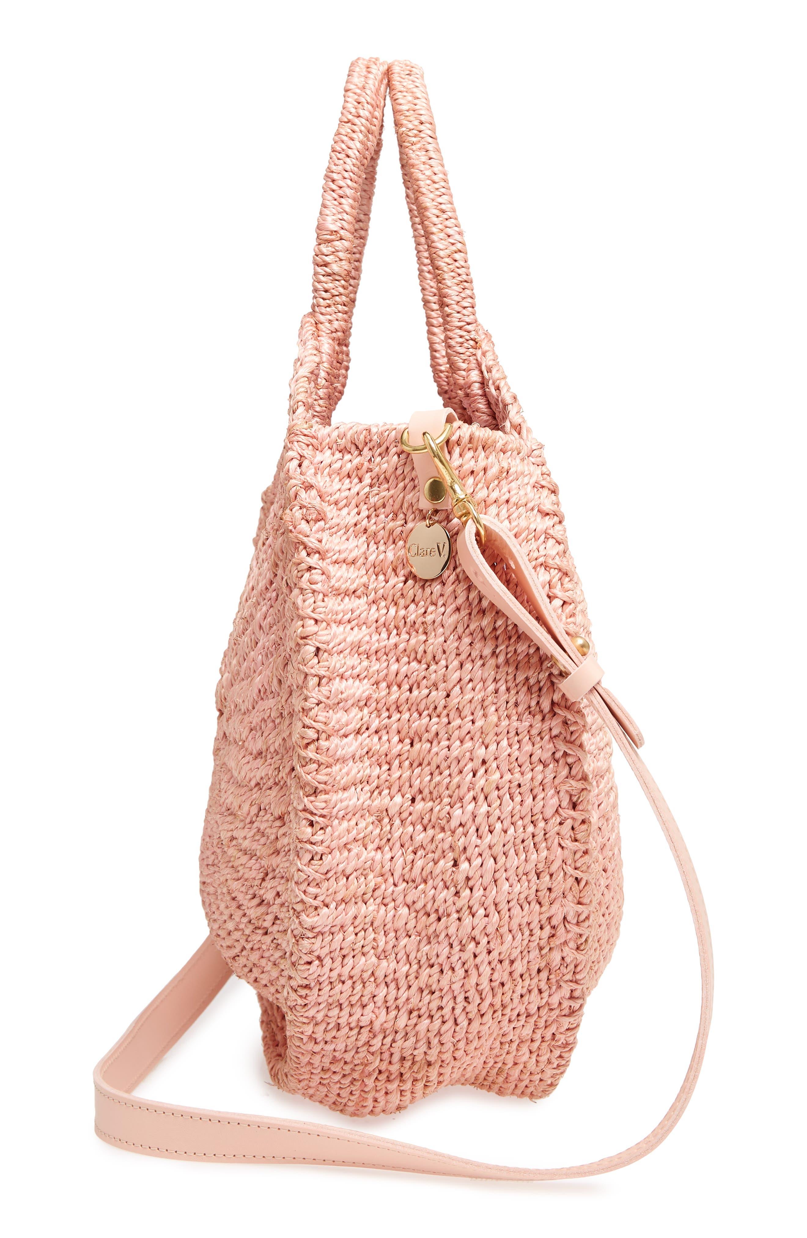 Alice Woven Sisal Straw Bag,                             Alternate thumbnail 5, color,                             Blush Woven