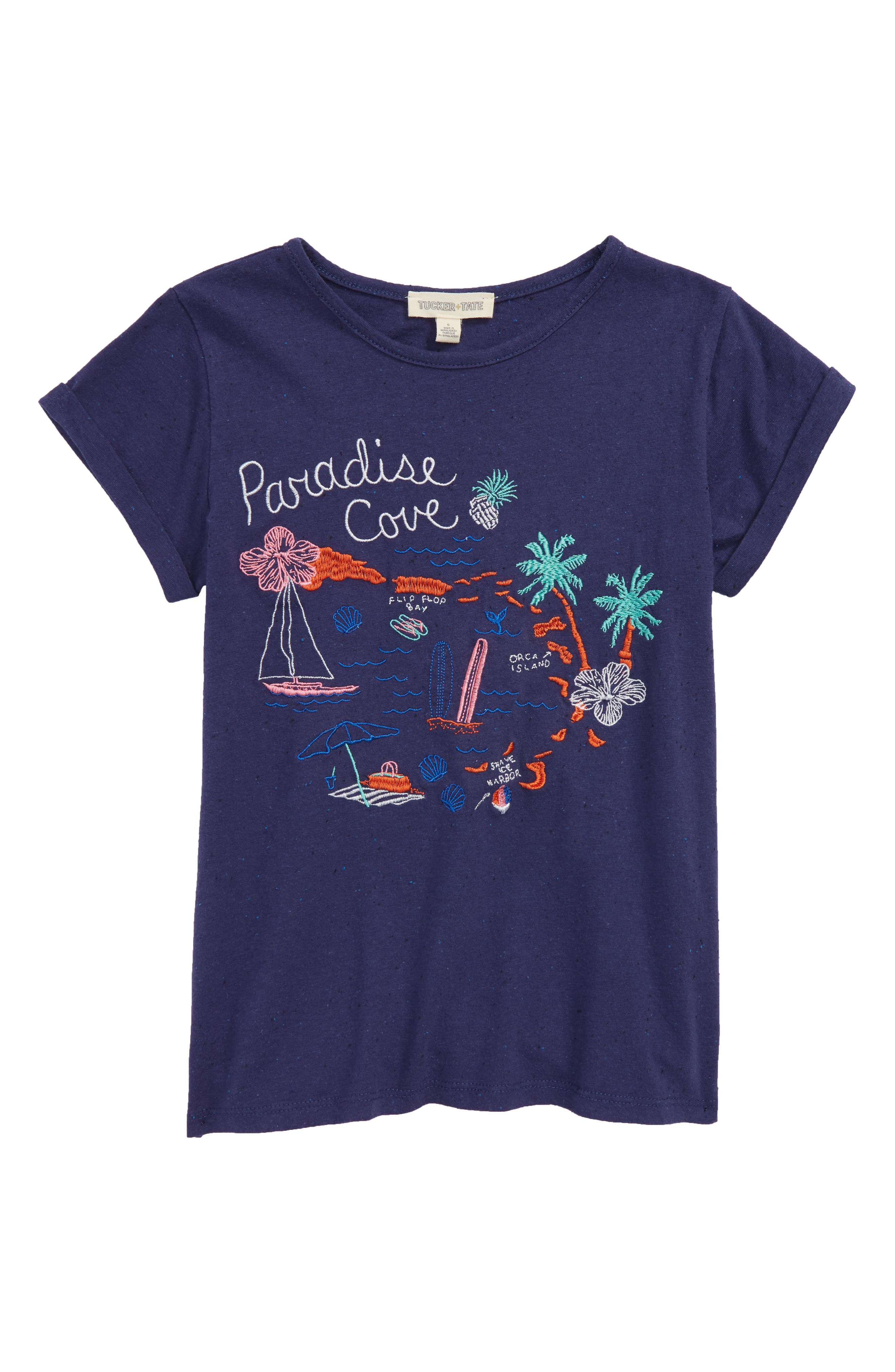 Embroidered Tee,                         Main,                         color, Navy Ribbon Destination