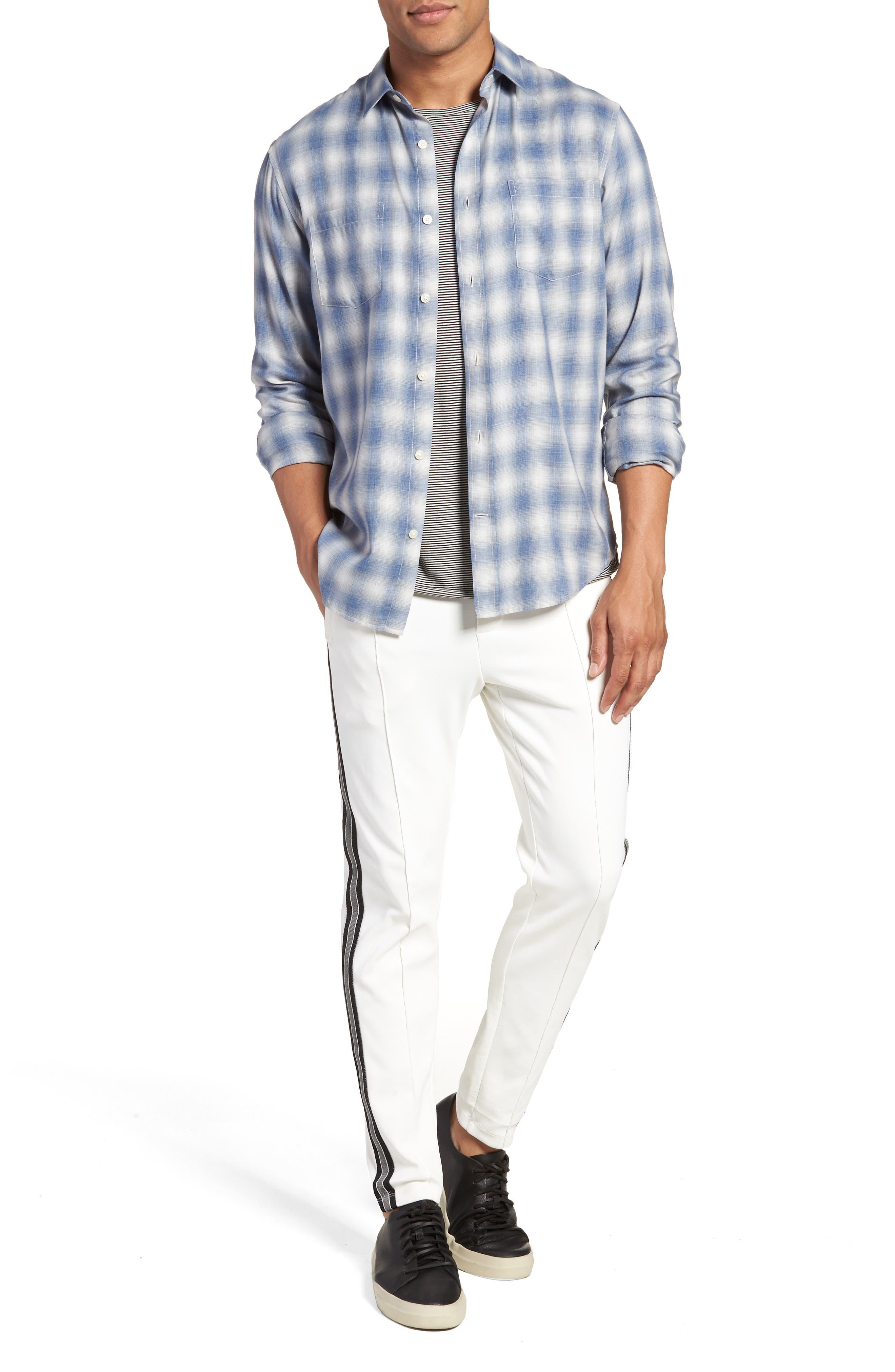 Shadow Slim Fit Plaid Sport Shirt,                             Alternate thumbnail 7, color,                             Spruce Blue