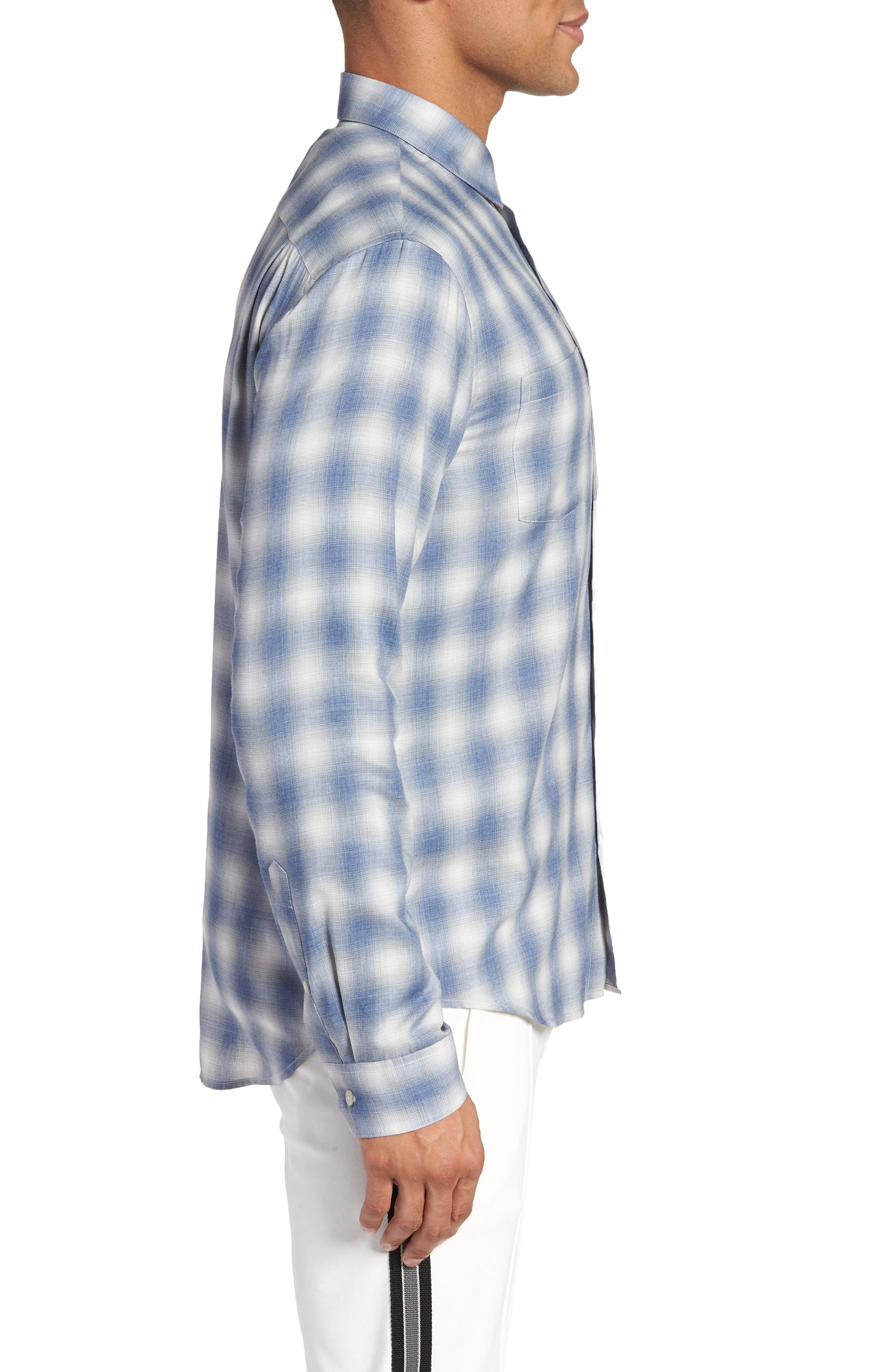 Shadow Slim Fit Plaid Sport Shirt,                             Alternate thumbnail 3, color,                             Spruce Blue