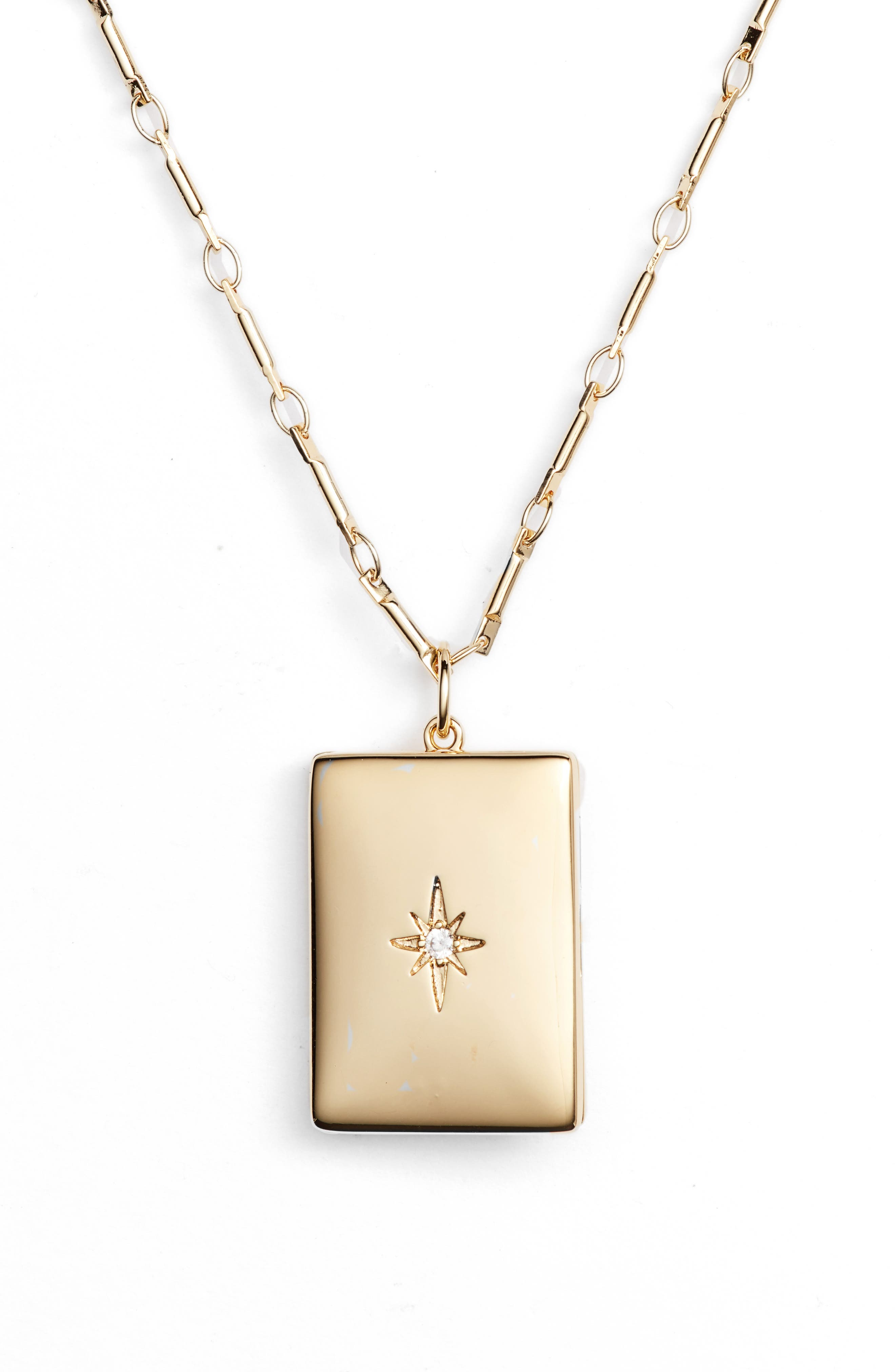 x We Wore What Poppy Locket Necklace,                         Main,                         color, Gold
