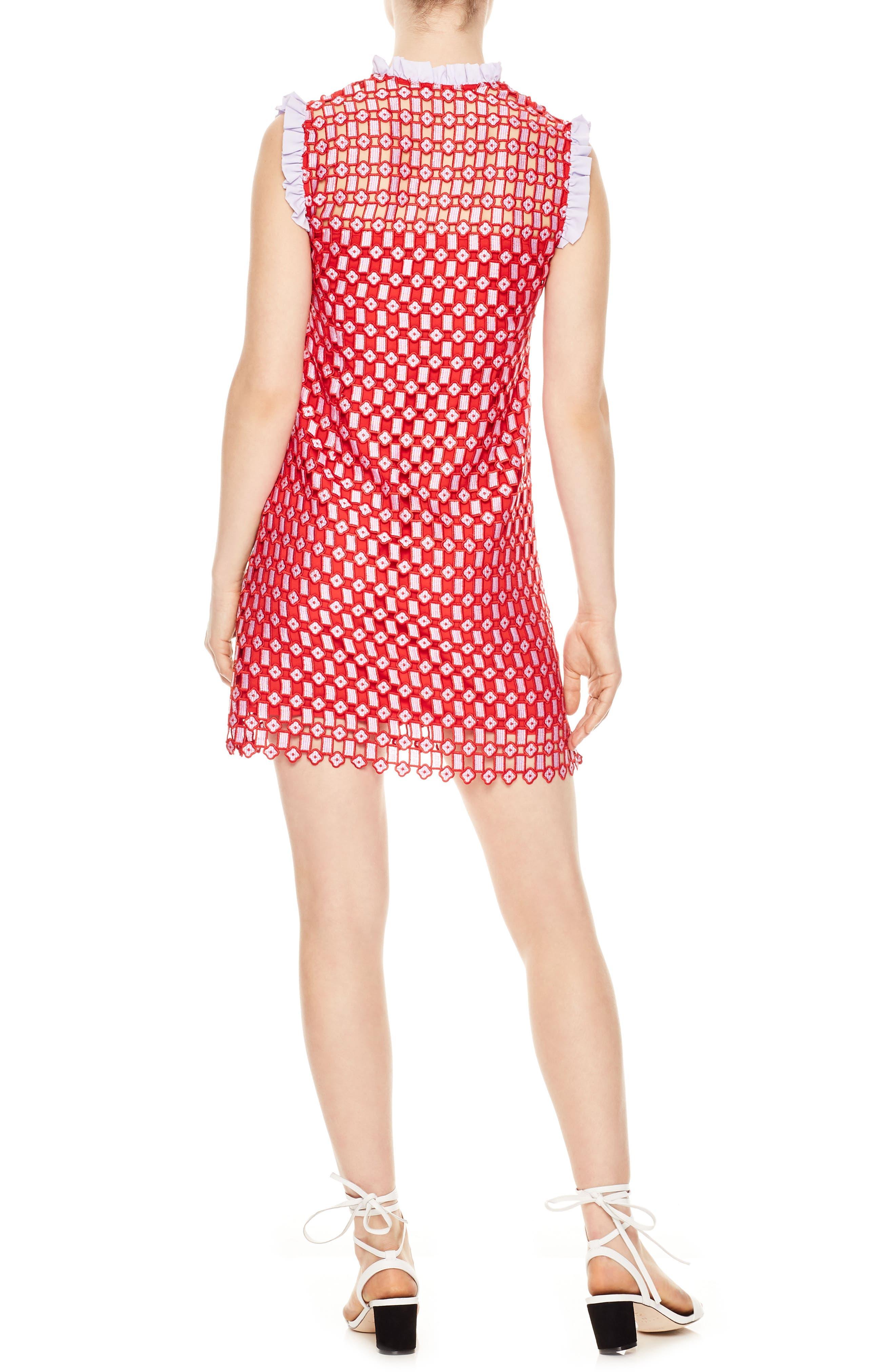 Textured Lace Split Neck Dress,                             Alternate thumbnail 2, color,                             Red