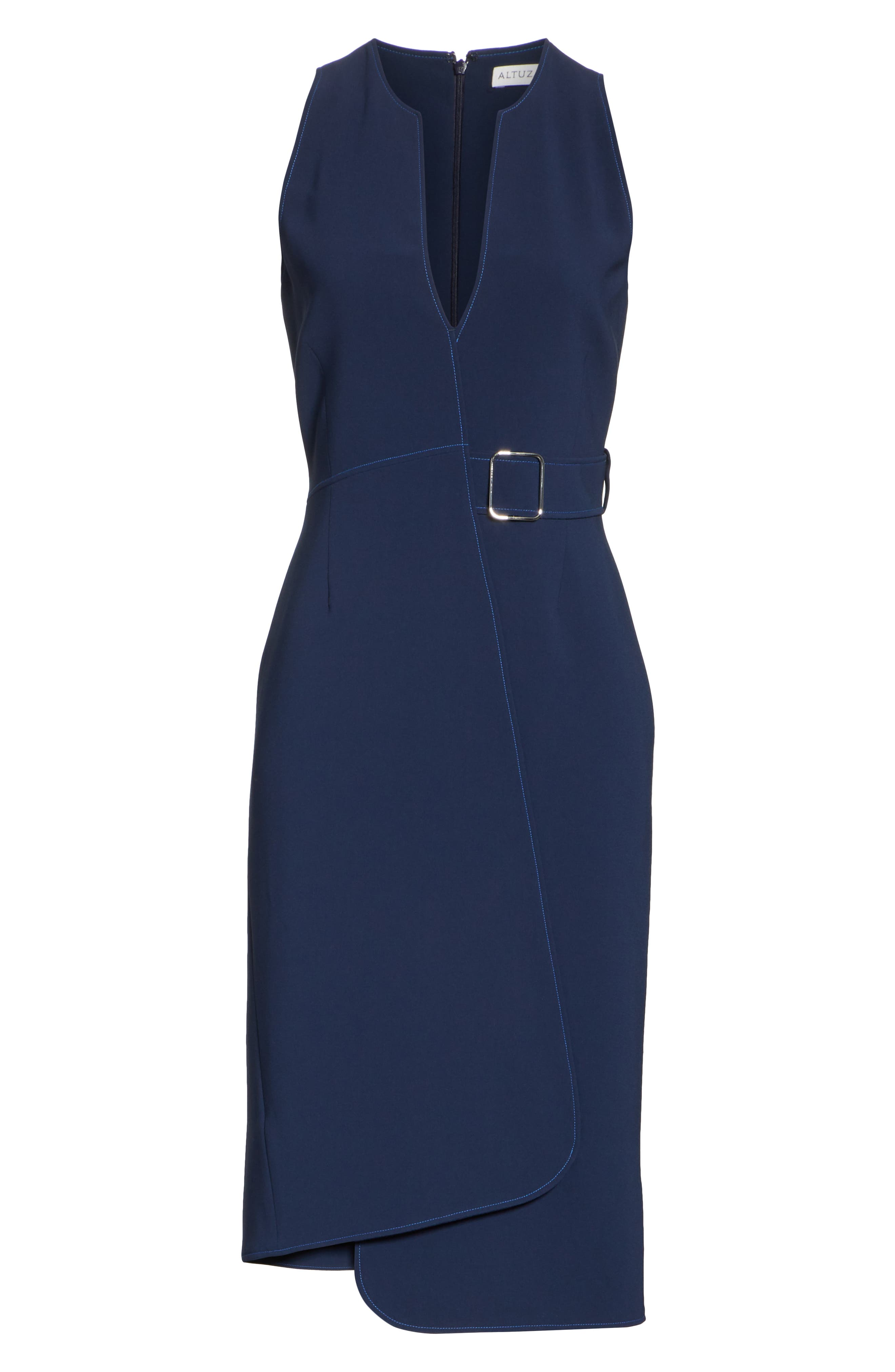 Asymmetrical Belted Dress,                         Main,                         color, Navy