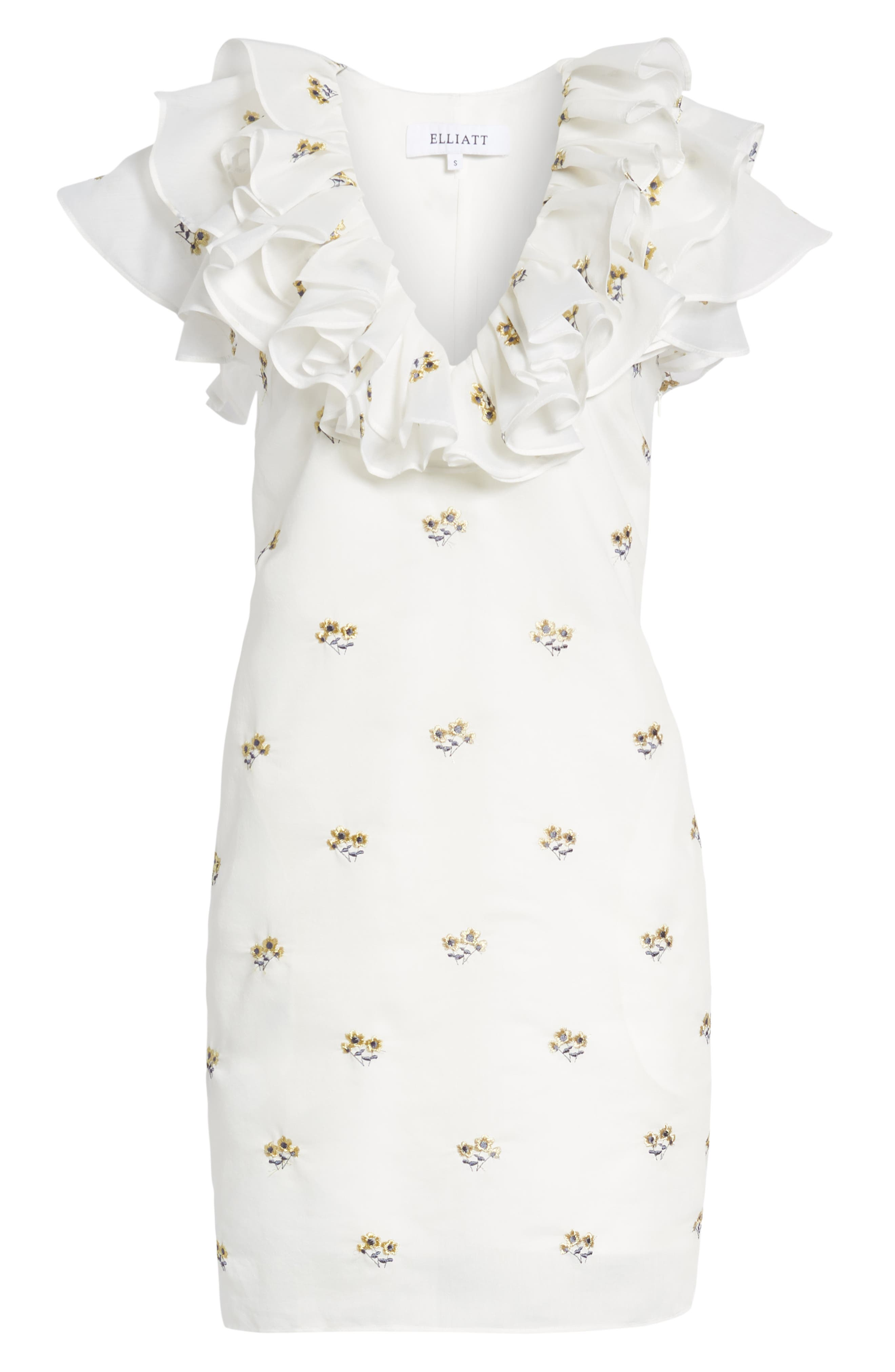 Theseus Embroidered Ruffle Dress,                             Alternate thumbnail 7, color,                             White