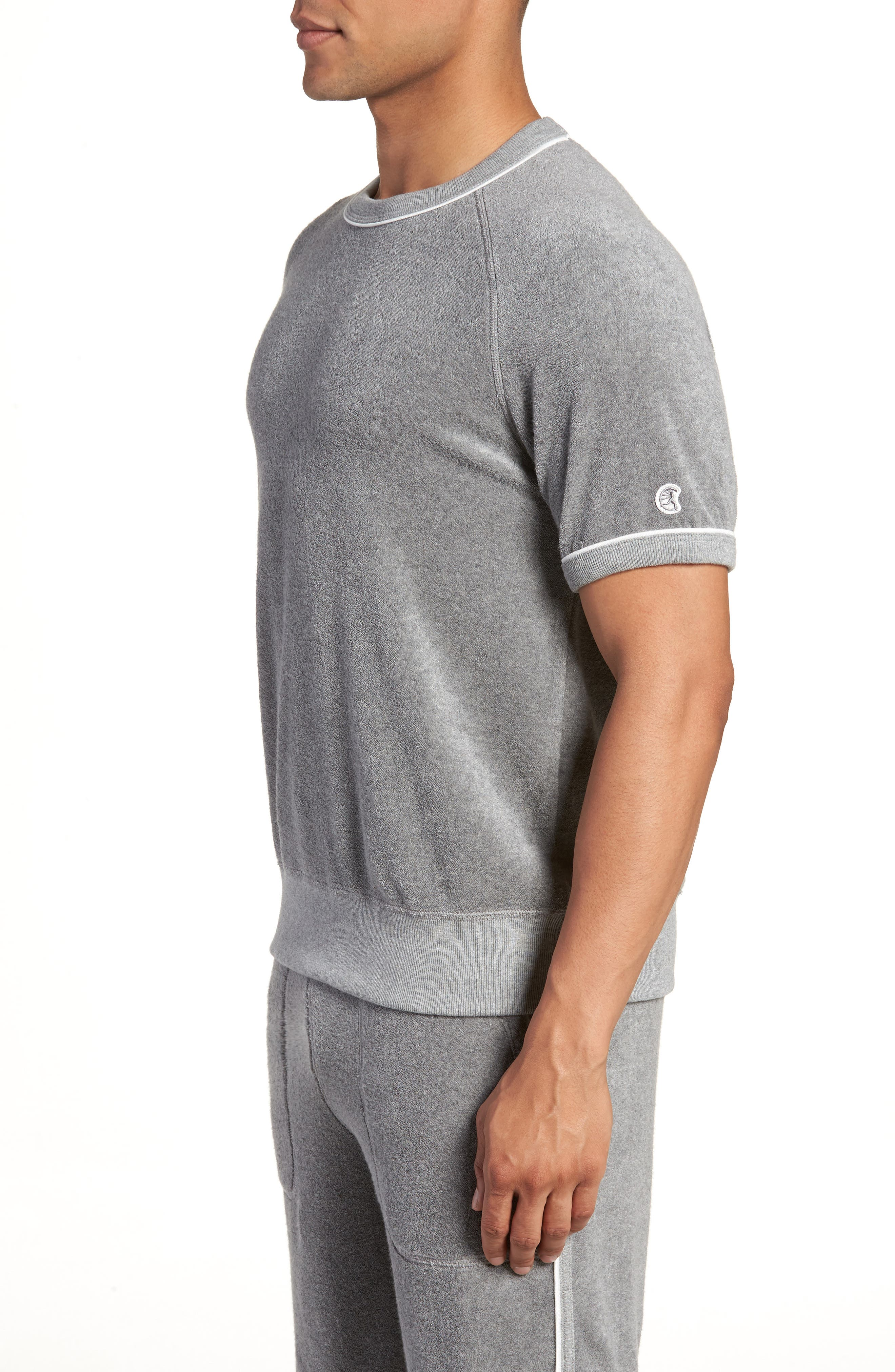 + Champion Short Sleeve Terry Sweatshirt,                             Alternate thumbnail 3, color,                             Grey